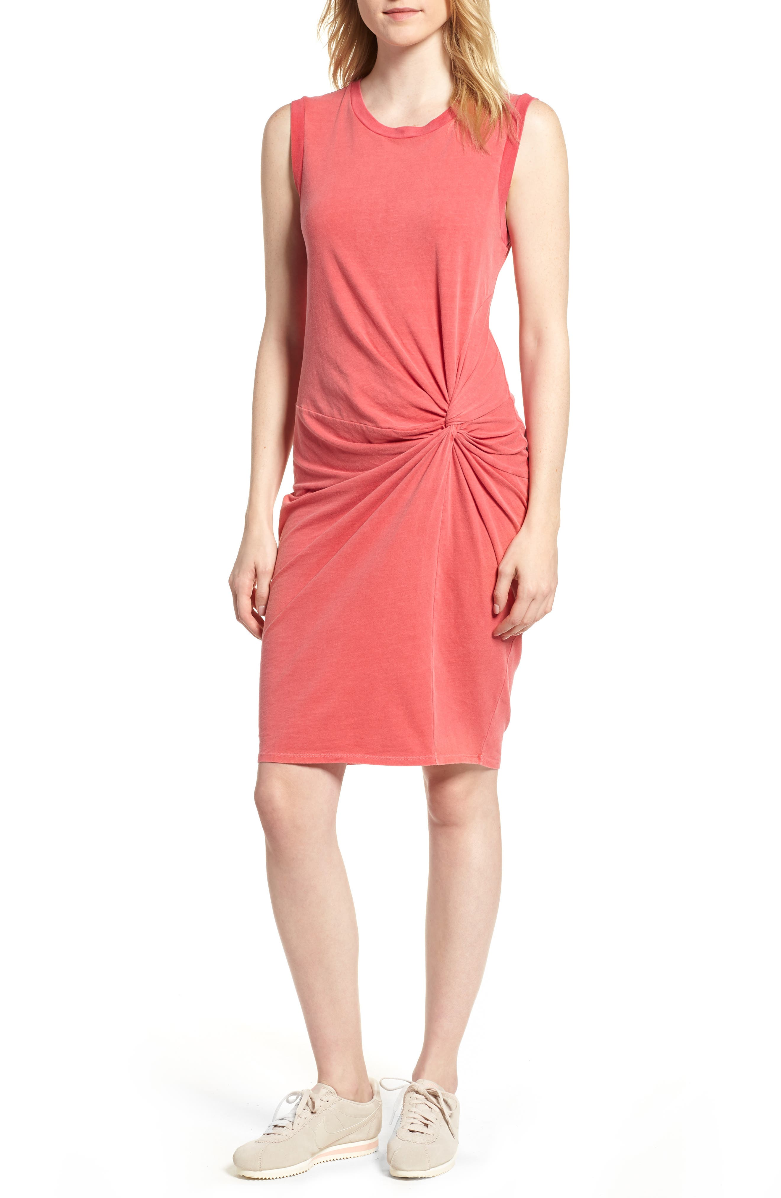 Twist Jersey Dress,                             Main thumbnail 1, color,                             SCARLET