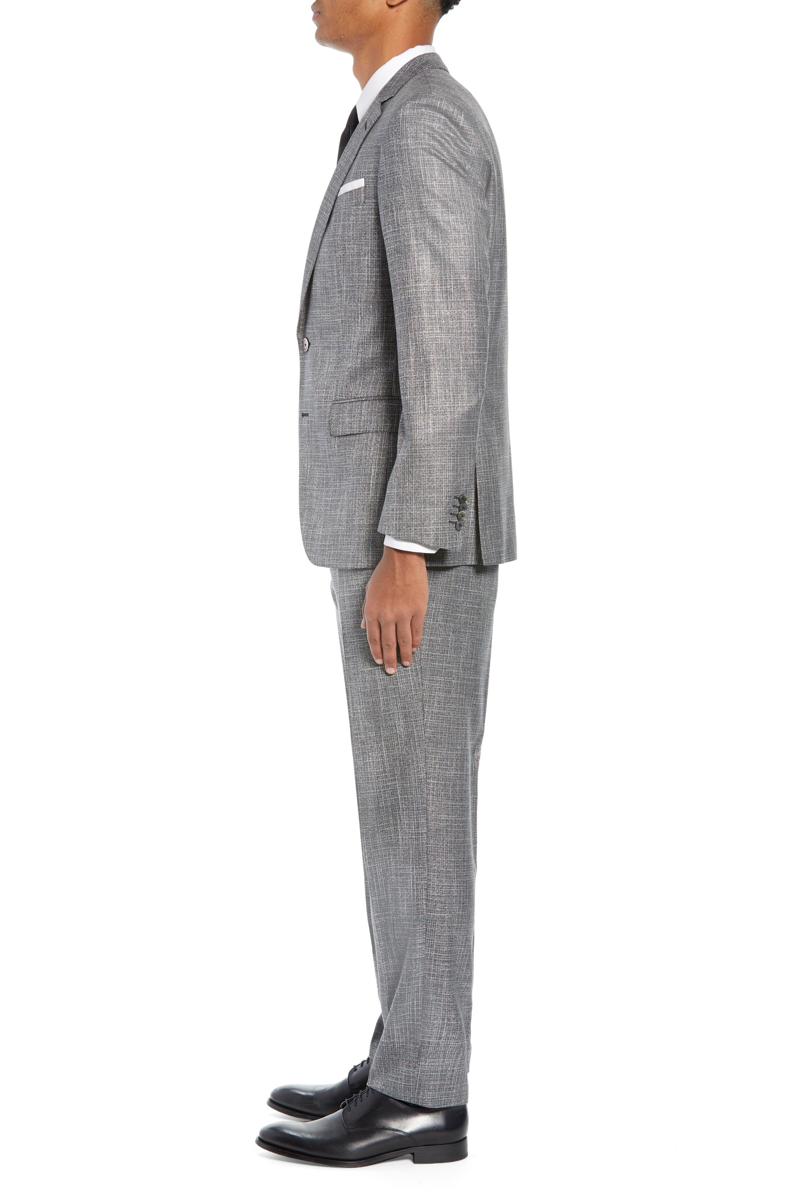 Hutson/Gander Trim Fit Solid Wool Blend Suit,                             Alternate thumbnail 3, color,                             MEDIUM GREY