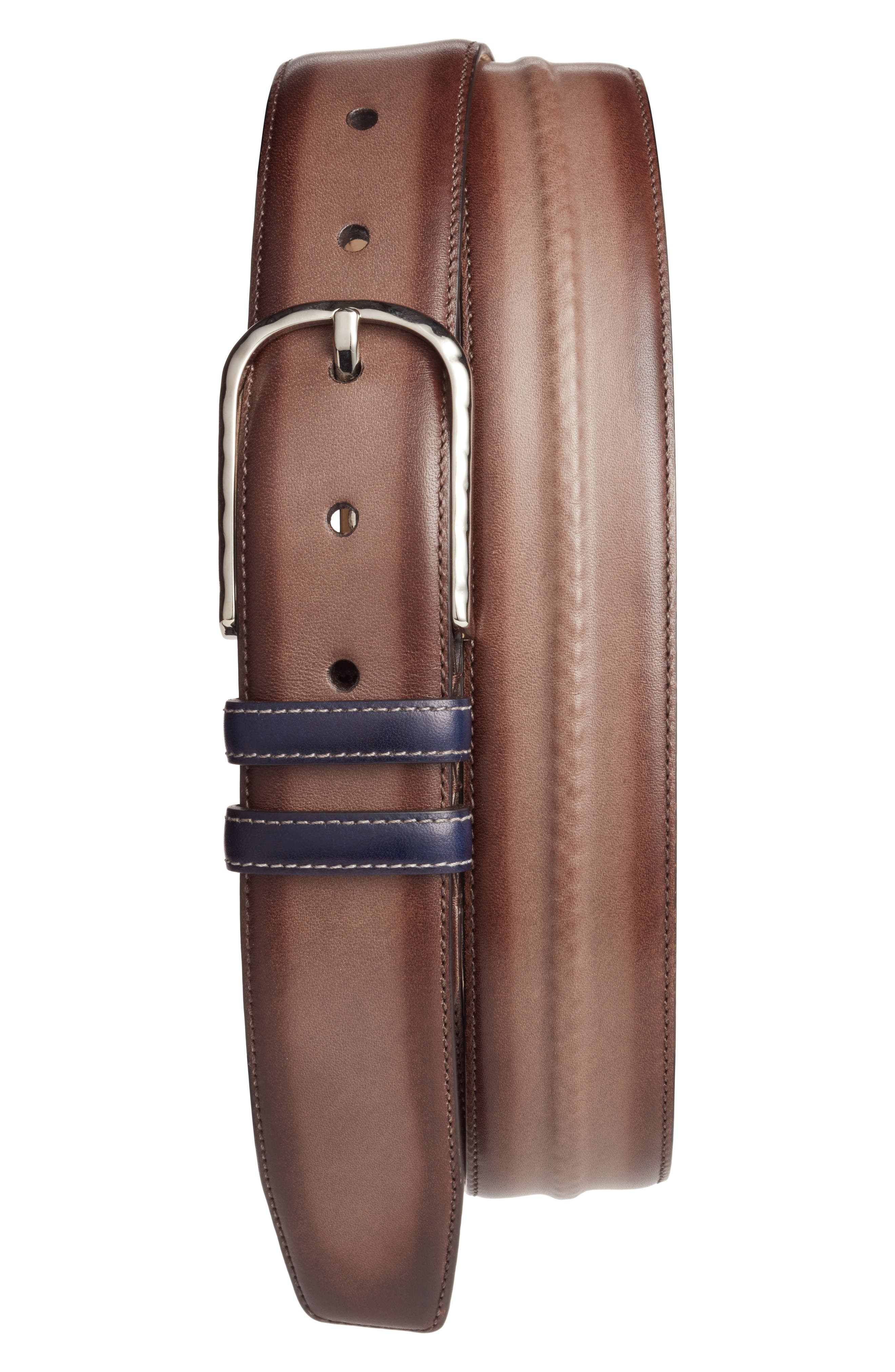 Leather Belt,                         Main,                         color, BROWN MULTI