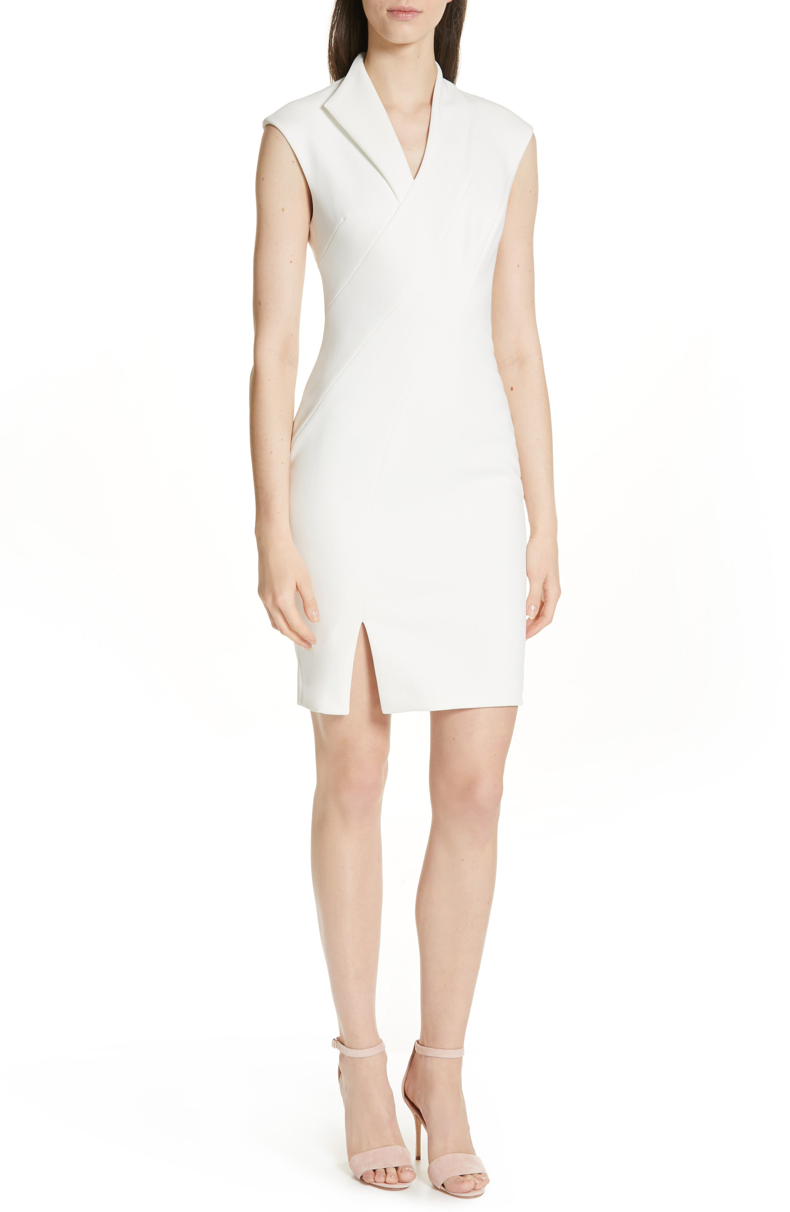 Ted Baker London Geodese Faux Wrap Pencil Dress, Ivory