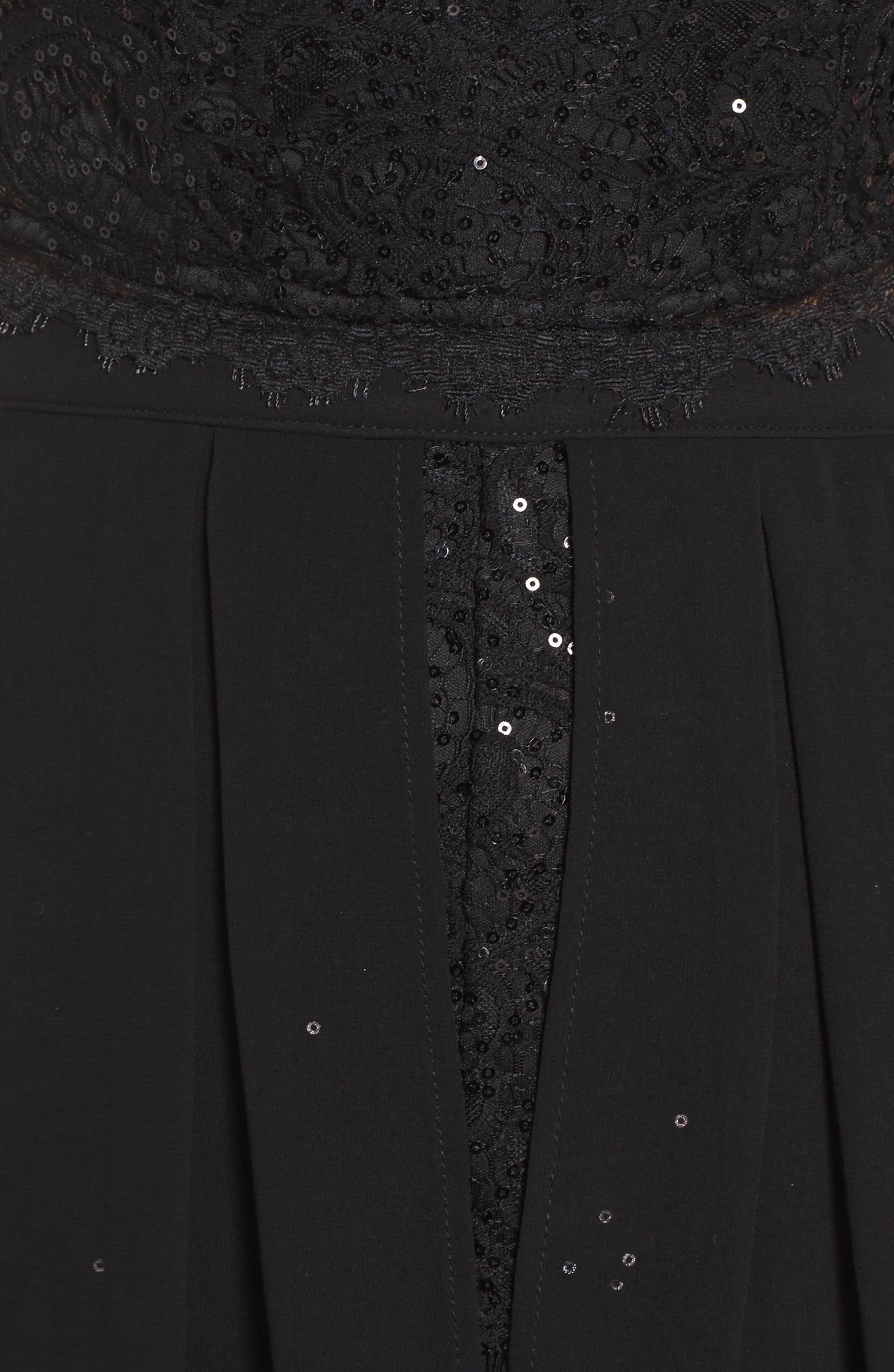 Sequin Lace Two-Piece Romper,                             Alternate thumbnail 5, color,                             001
