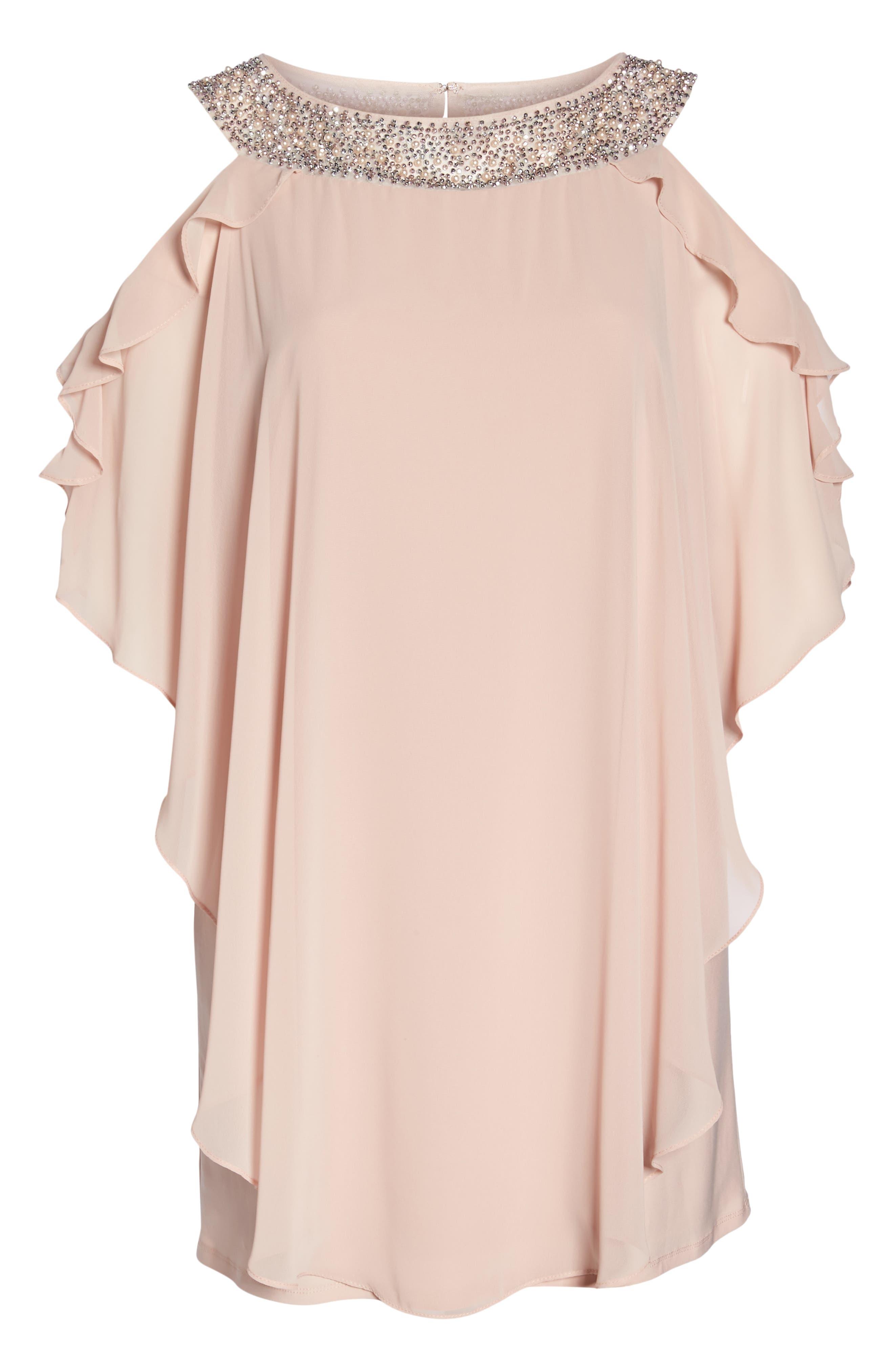Embellished Neck Cold Shoulder Overlay Chiffon Shift Dress,                             Alternate thumbnail 6, color,                             BLUSH