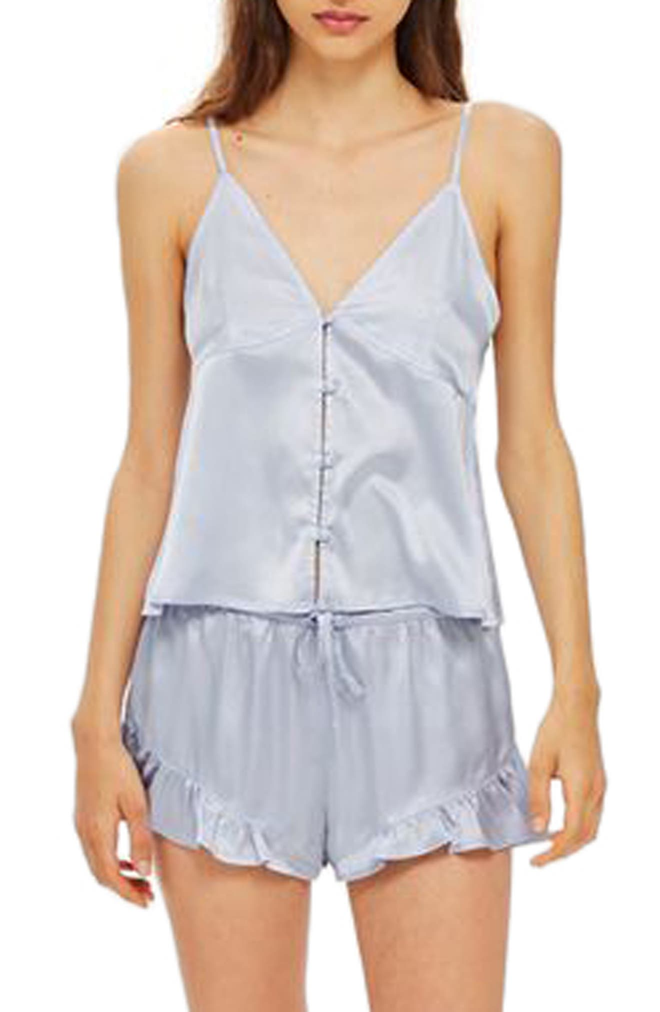 Lucina Satin Short Pajamas,                             Main thumbnail 1, color,                             450