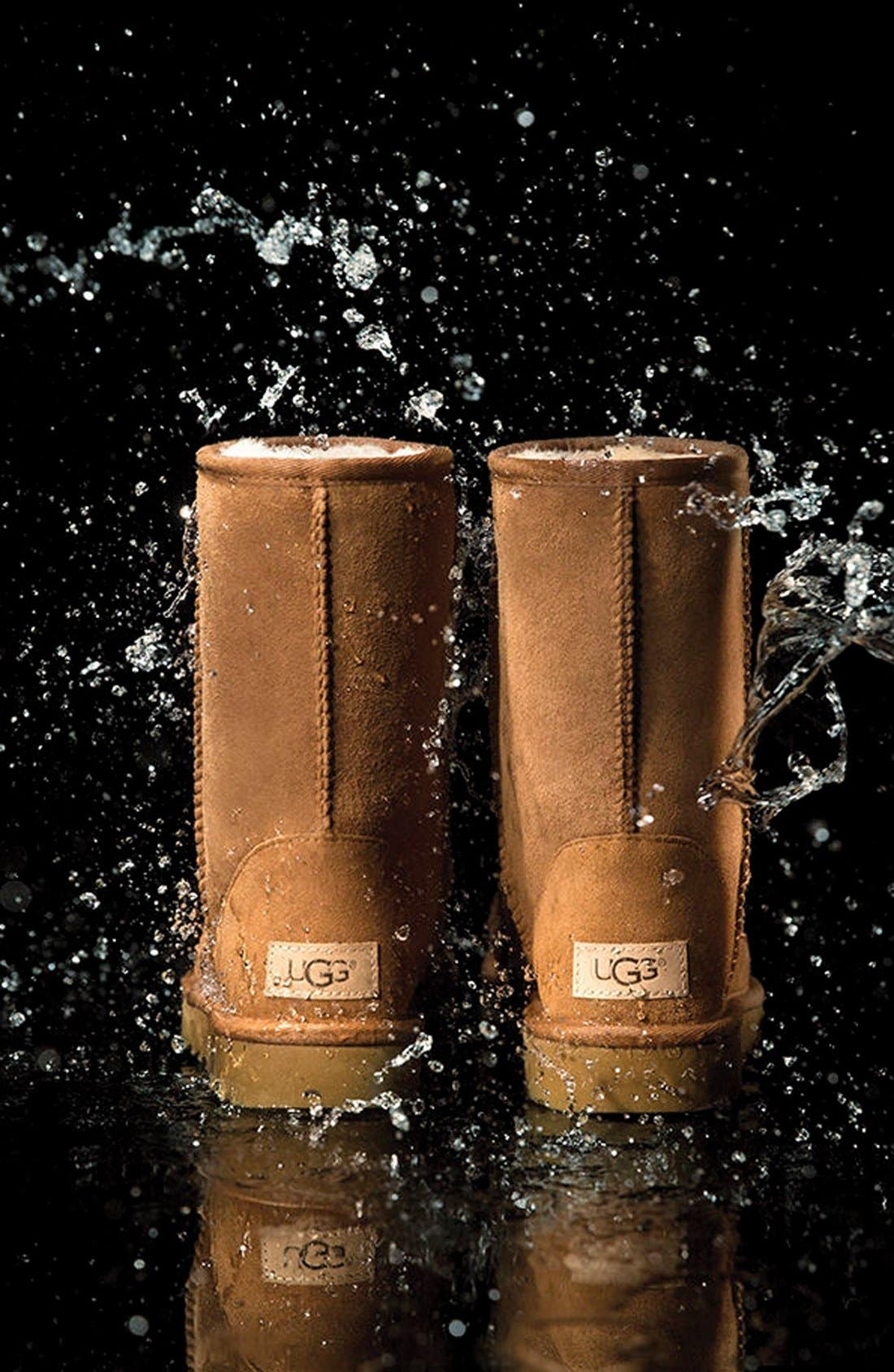 UGG<SUP>®</SUP>,                             Mini Bailey Button II Genuine Shearling Boot,                             Alternate thumbnail 5, color,                             BLACK SUEDE