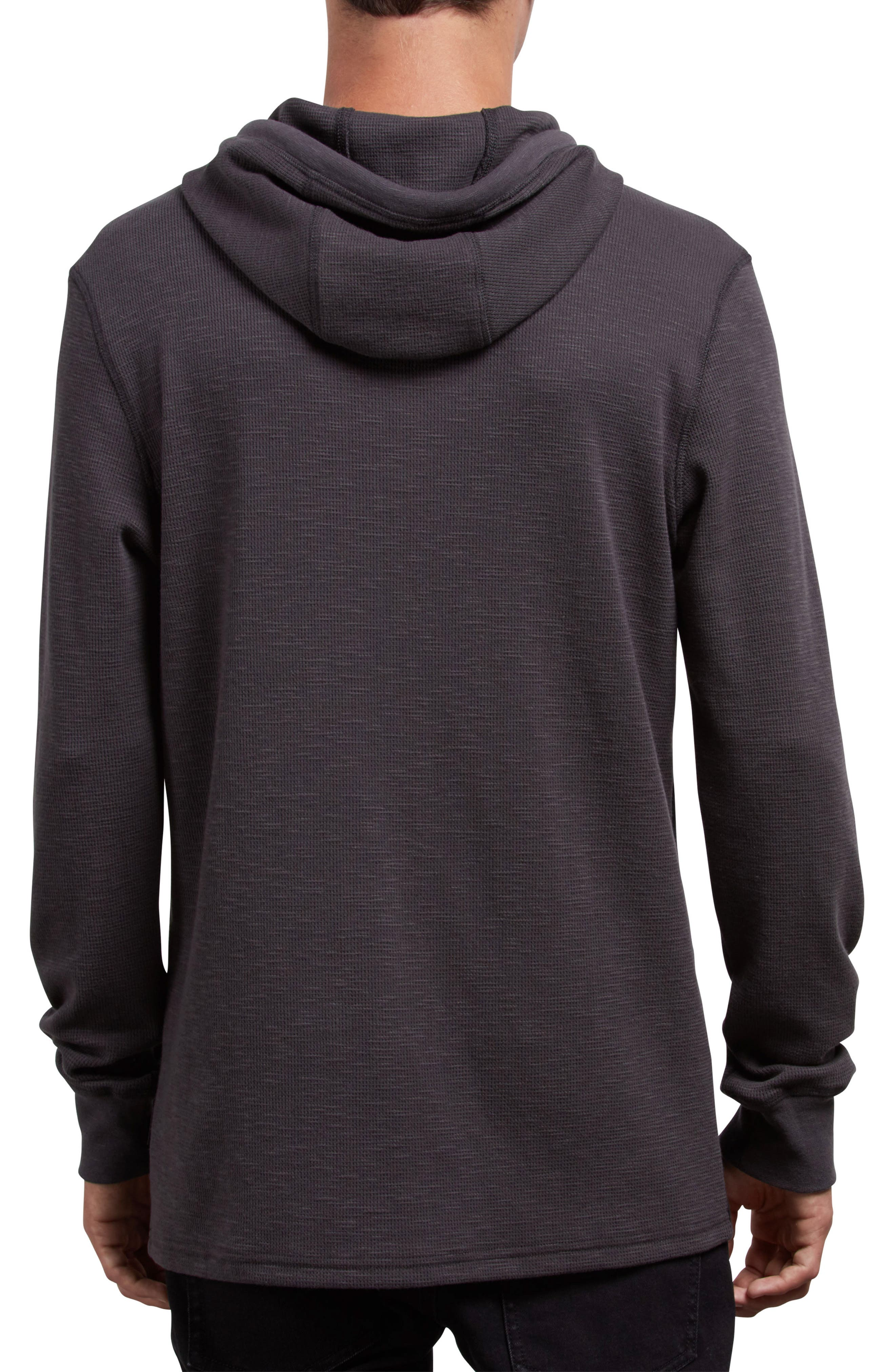 Murphy Thermal Henley Hoodie,                             Alternate thumbnail 2, color,                             ASPHALT BLACK
