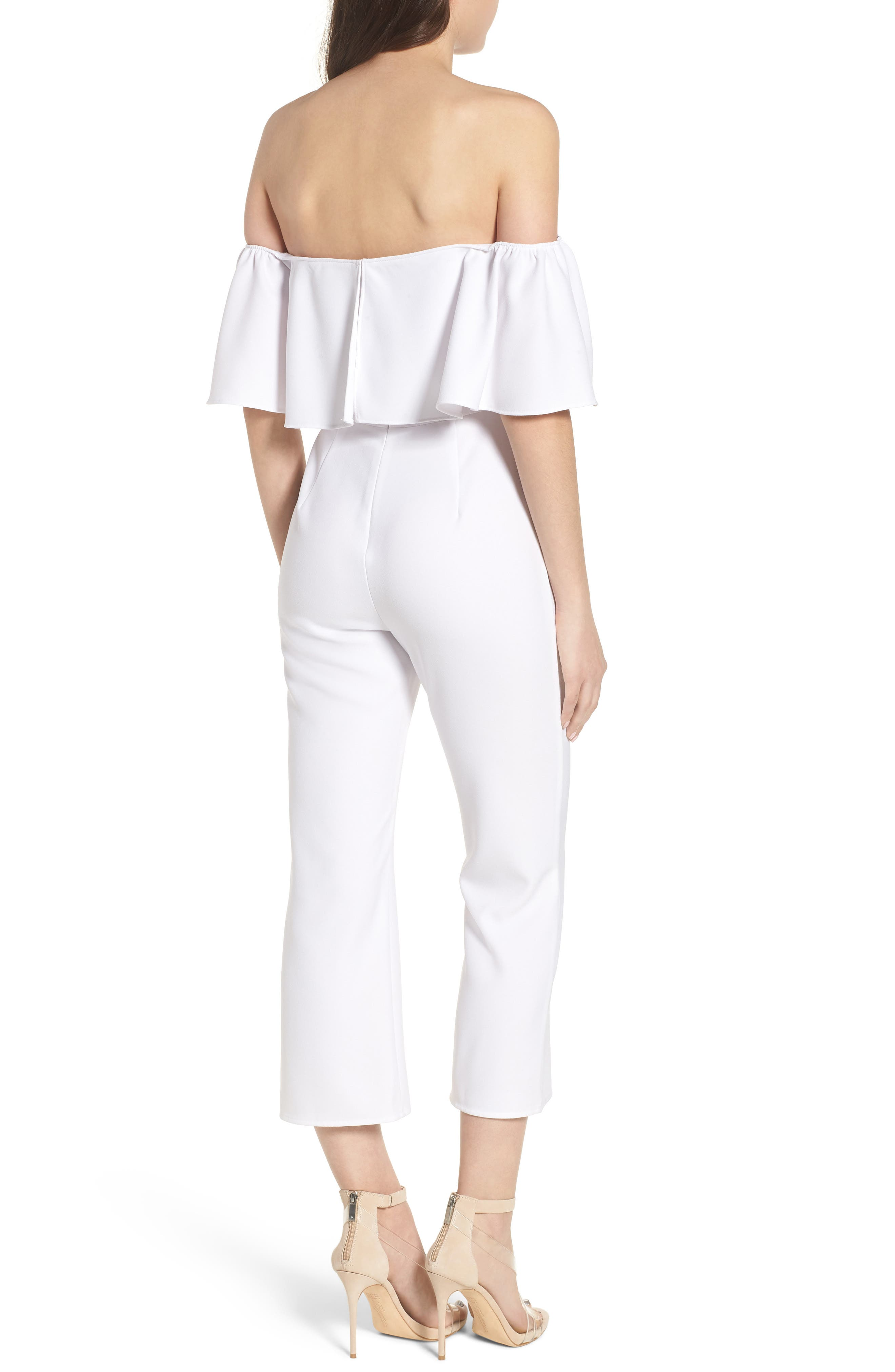 Strapless Off the Shoulder Jumpsuit,                             Alternate thumbnail 2, color,                             WHITE