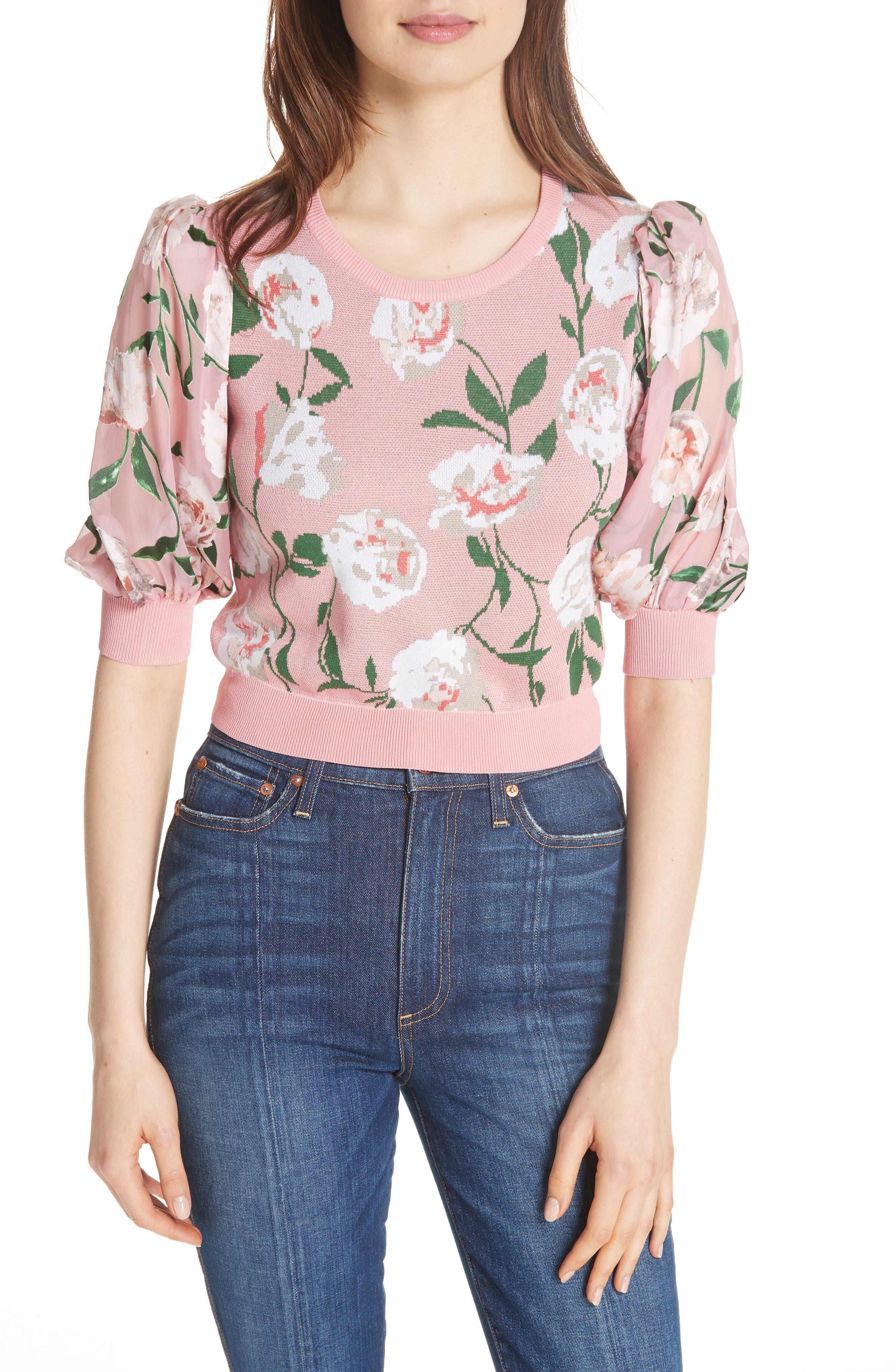 Brandy Floral Puff Crop Sweater,                         Main,                         color, PEONY GARDEN WALL/ BUBBLEGUM