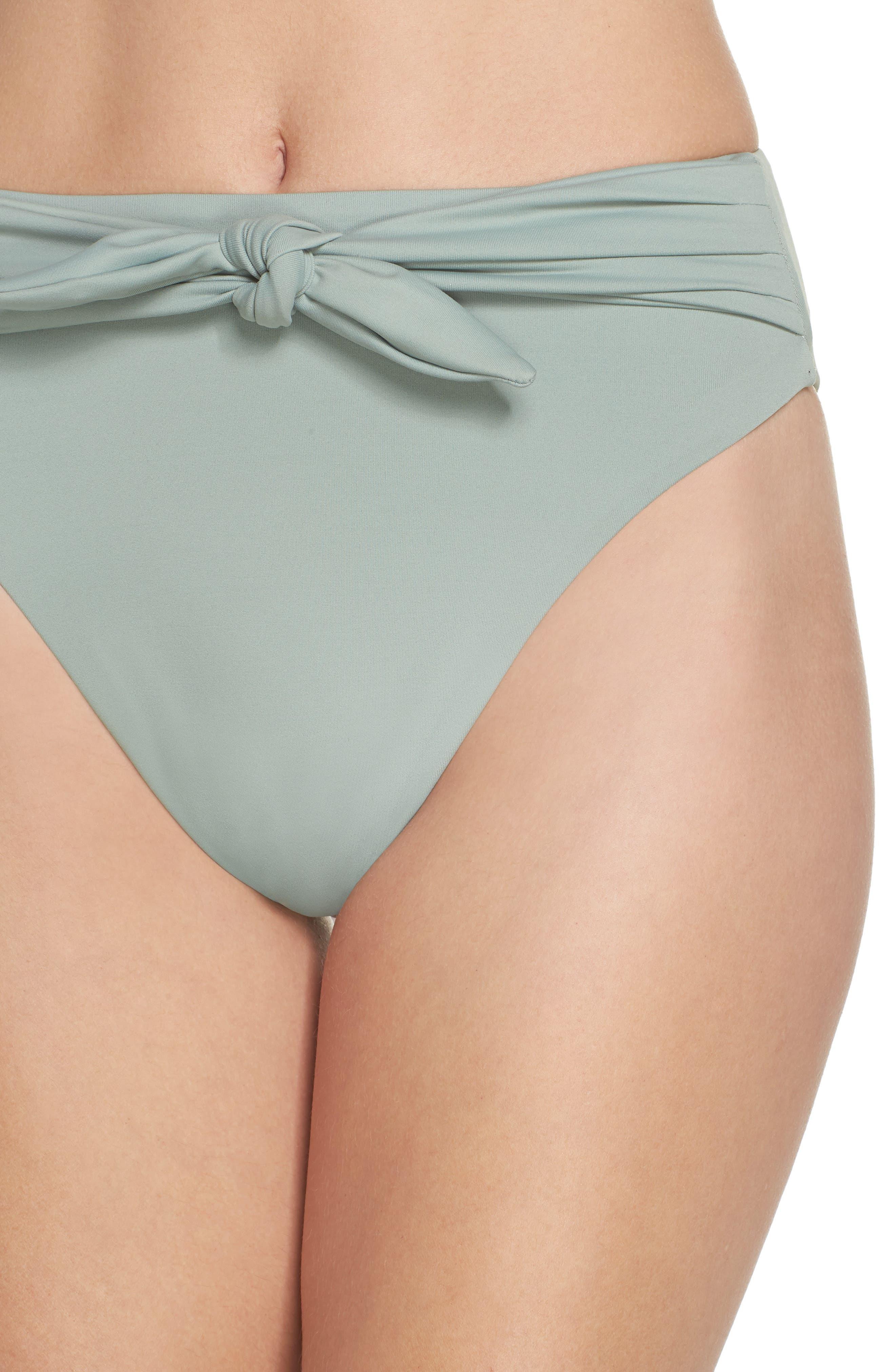 Paula Tie-Up Bikini Bottoms,                             Alternate thumbnail 4, color,                             PISTACHE GREEN