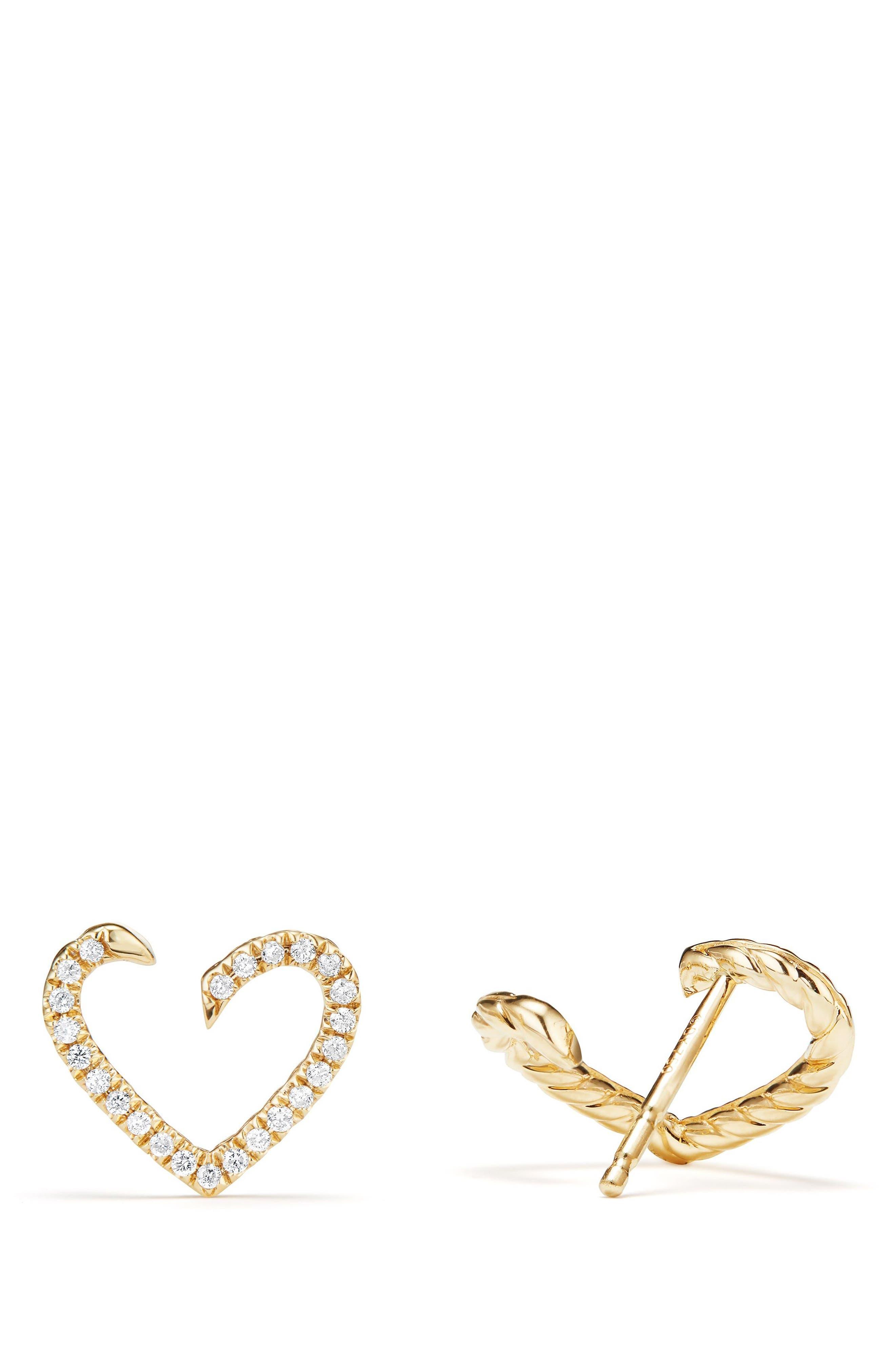 Heart Wrap Earrings with Diamonds in 18K Gold,                             Alternate thumbnail 2, color,                             GOLD/ DIAMOND