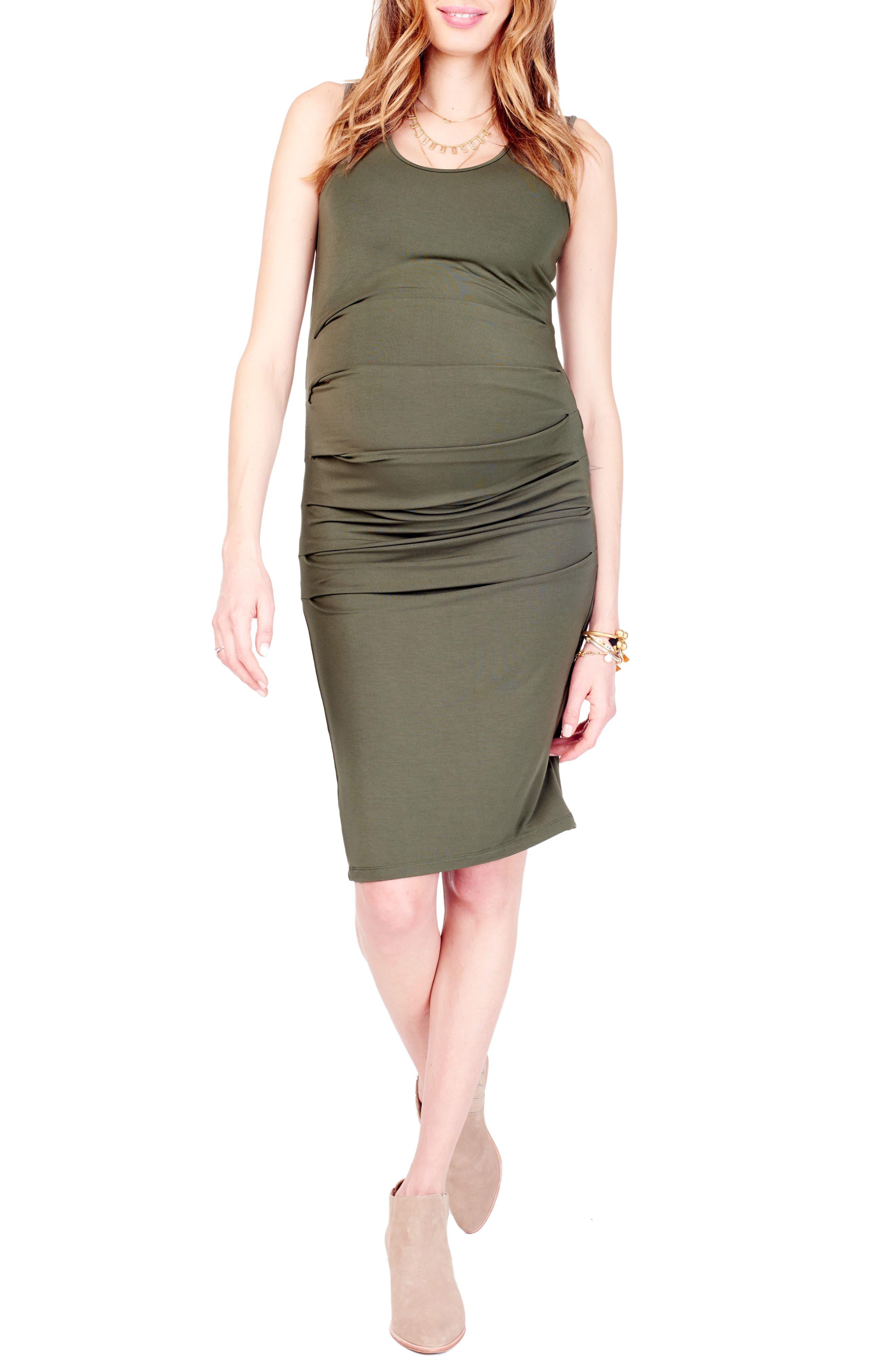 Ingrid & Isabel Ruched Maternity Tank Dress, Green