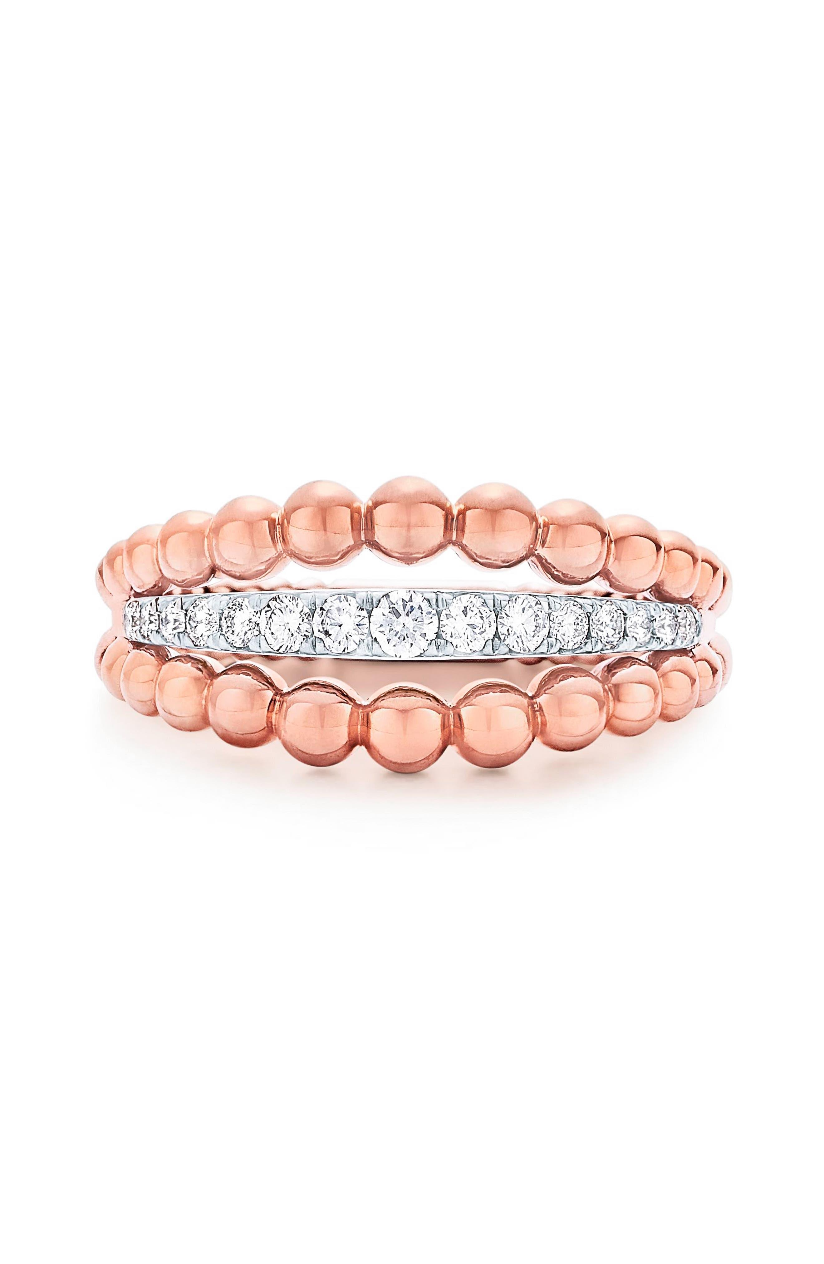 Beaded Diamond Ring,                             Main thumbnail 1, color,                             ROSE GOLD
