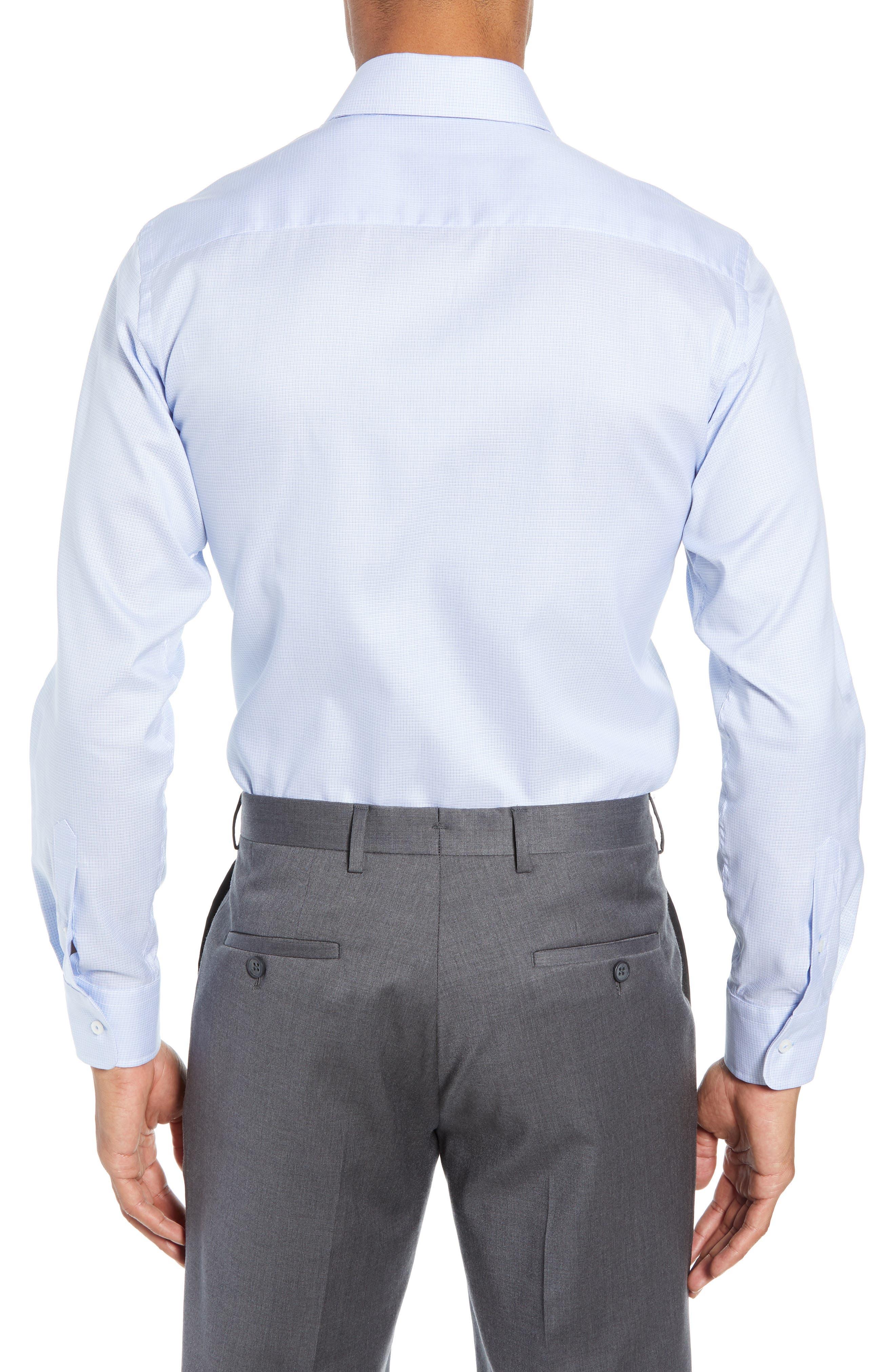 Slim Fit Micro Pattern Dress Shirt,                             Alternate thumbnail 3, color,                             BLUE