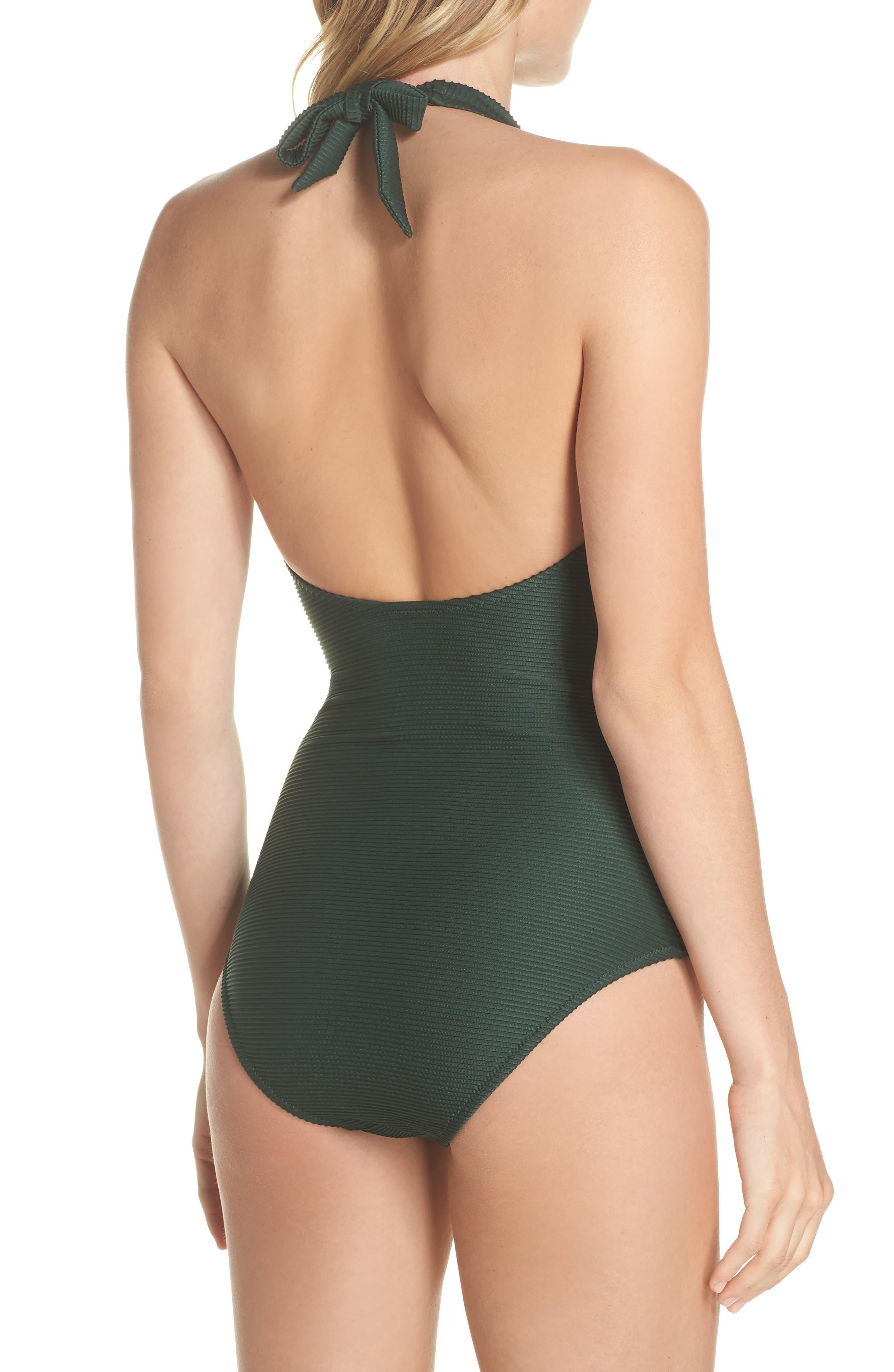 V-Bar One-Piece Halter Swimsuit,                             Alternate thumbnail 2, color,                             GREEN