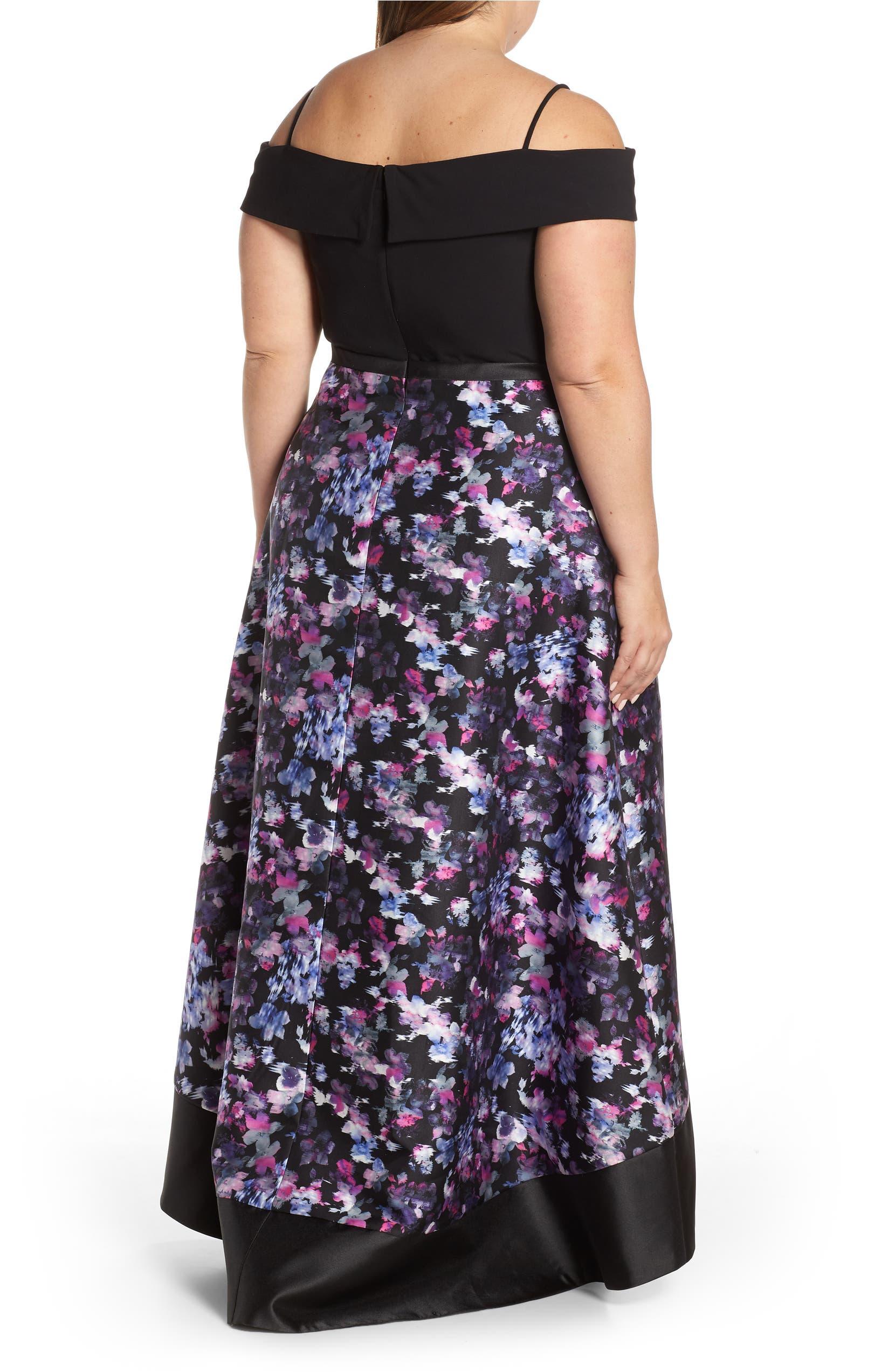 9a927c8a8f Morgan   Co. Cold Shoulder Mikado High Low Hem Evening Dress (Plus ...