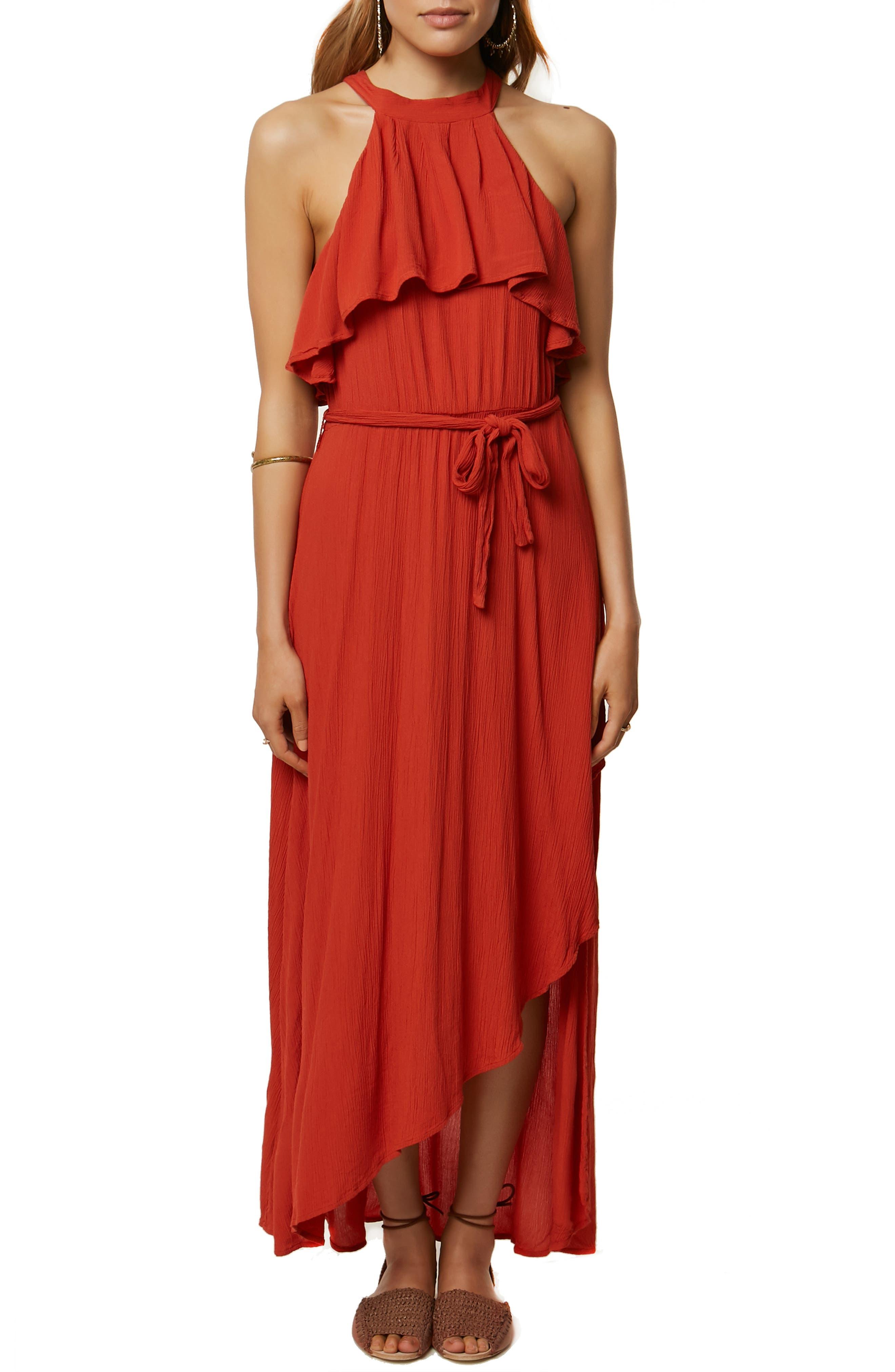 Misty Ruffle Asymmetrical Maxi Dress,                         Main,                         color, TABASCO