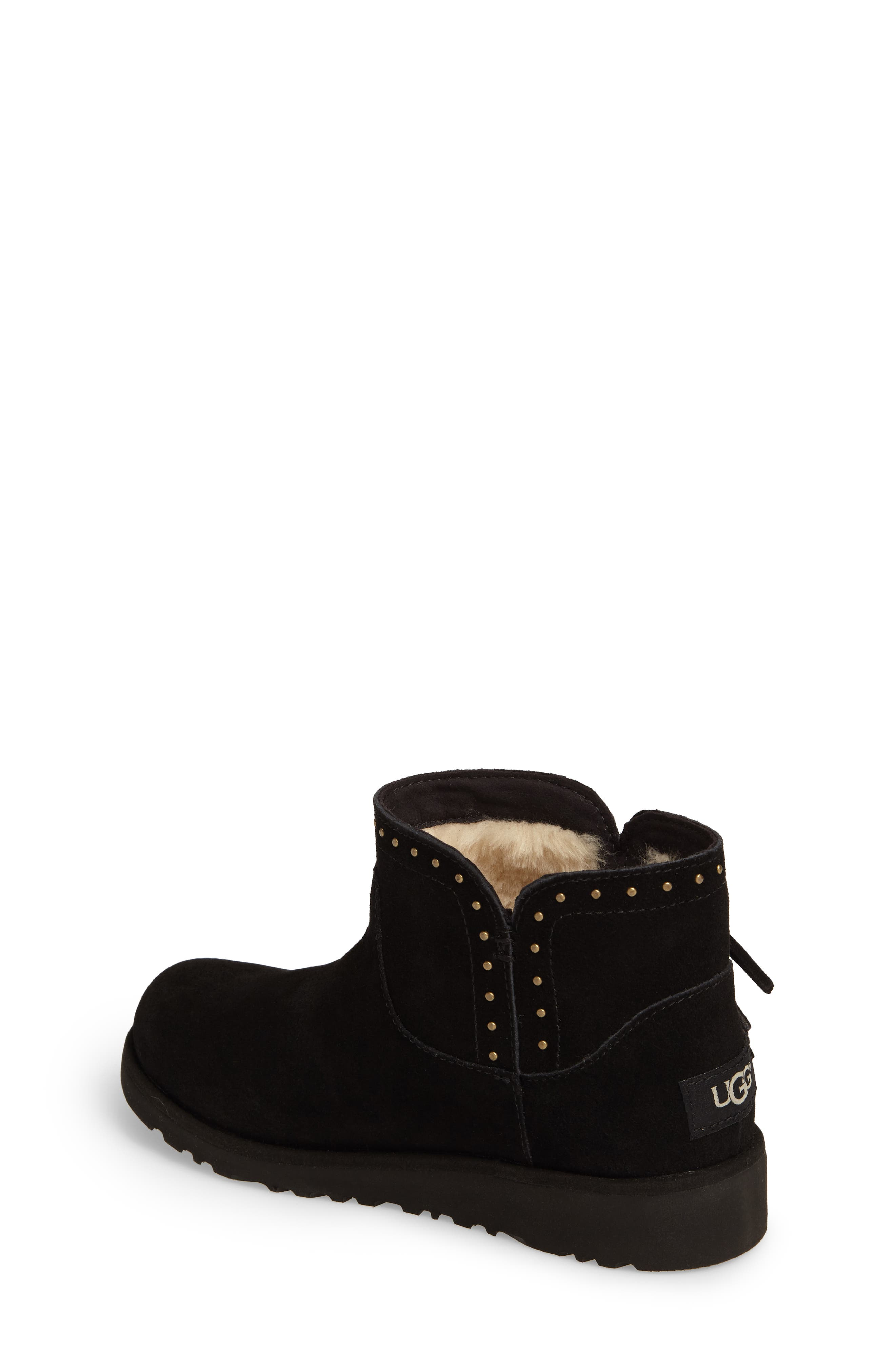 Cindy Water-Resistant Genuine Shearling Studded Bootie,                             Alternate thumbnail 2, color,                             001