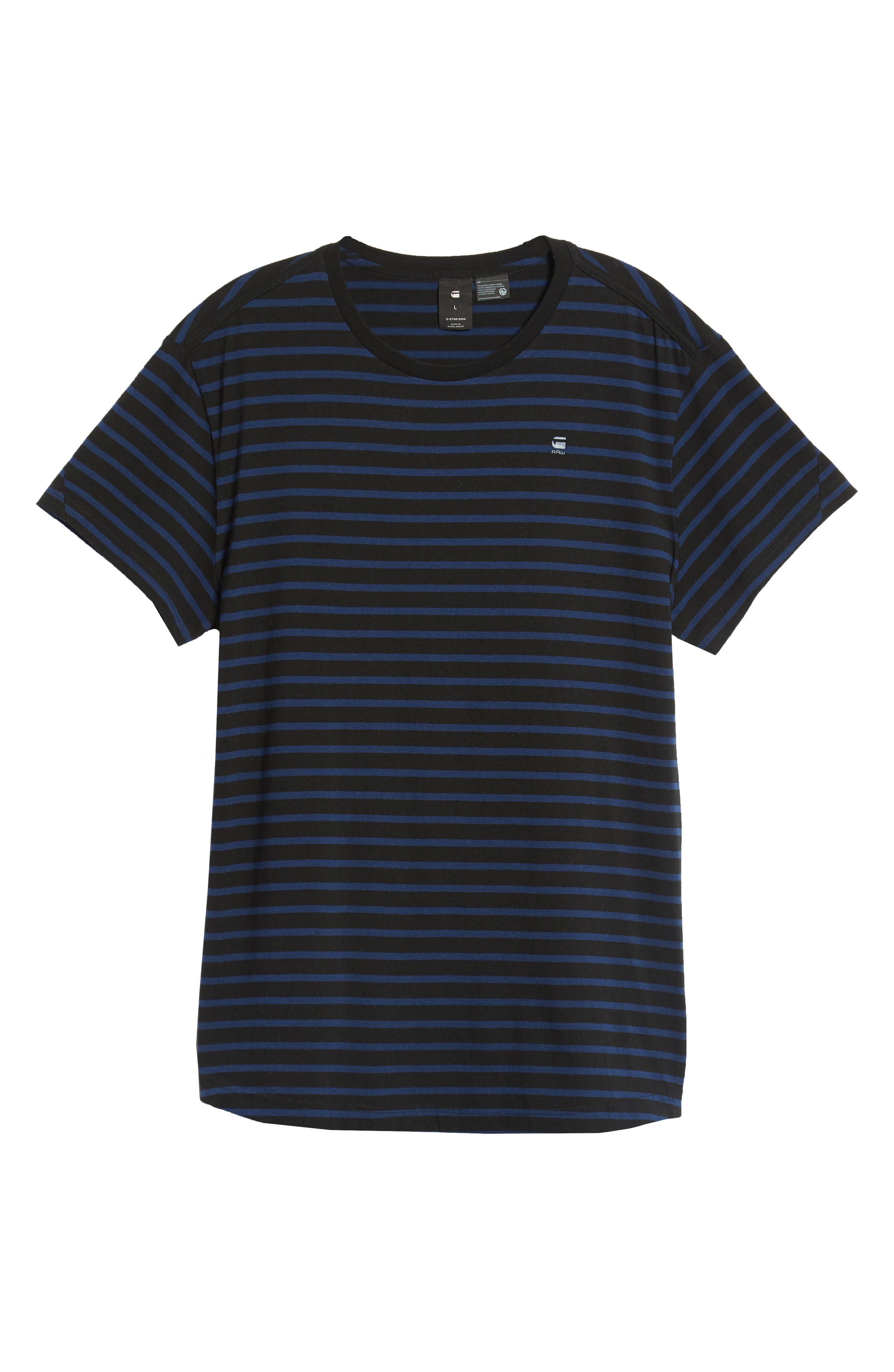 Starkon Stripe T-Shirt,                             Alternate thumbnail 6, color,                             DARK BLACK/ IMPERIAL BLUE