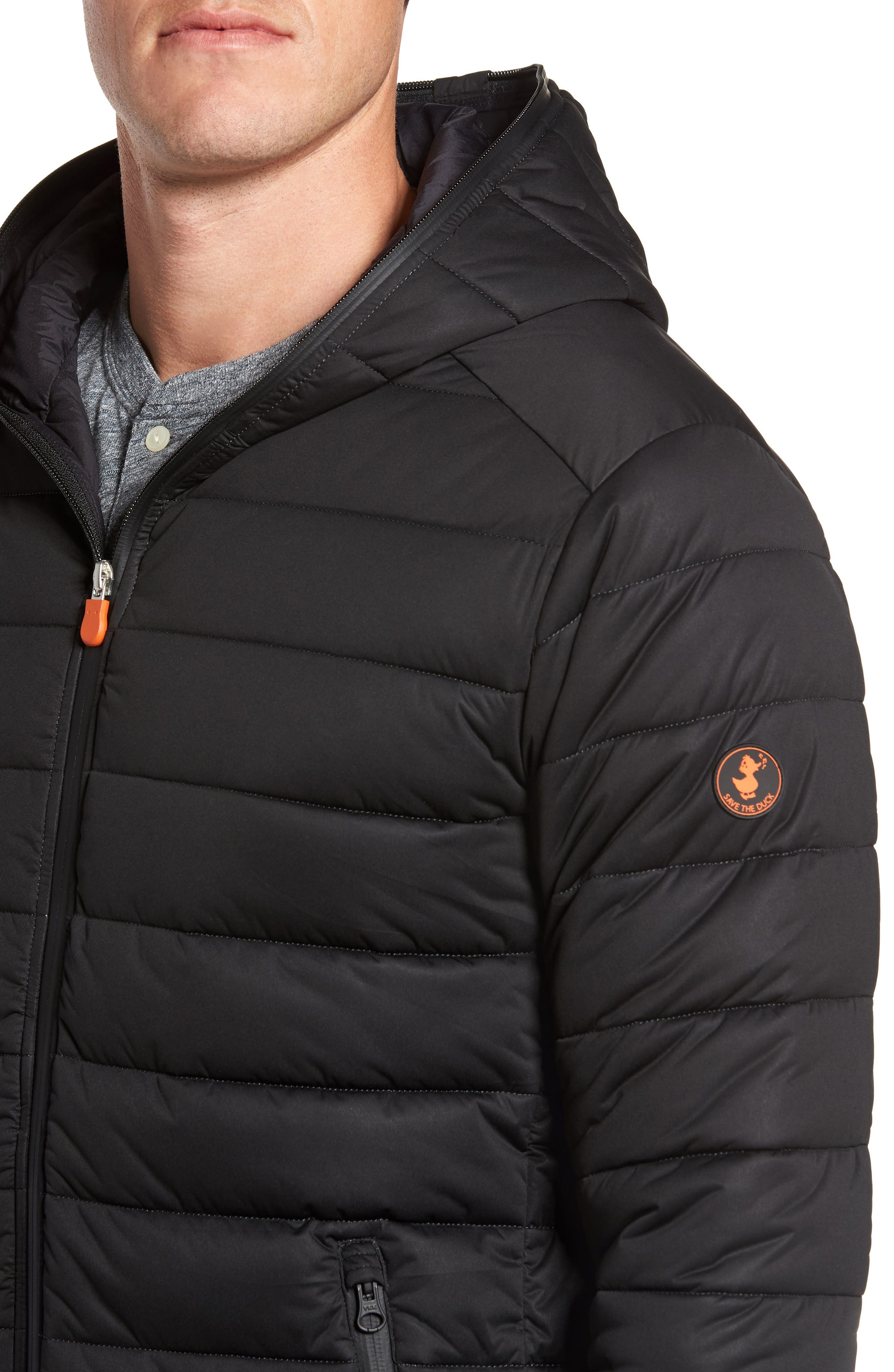 Hooded Water Resistant Puffer Jacket,                             Alternate thumbnail 4, color,                             001