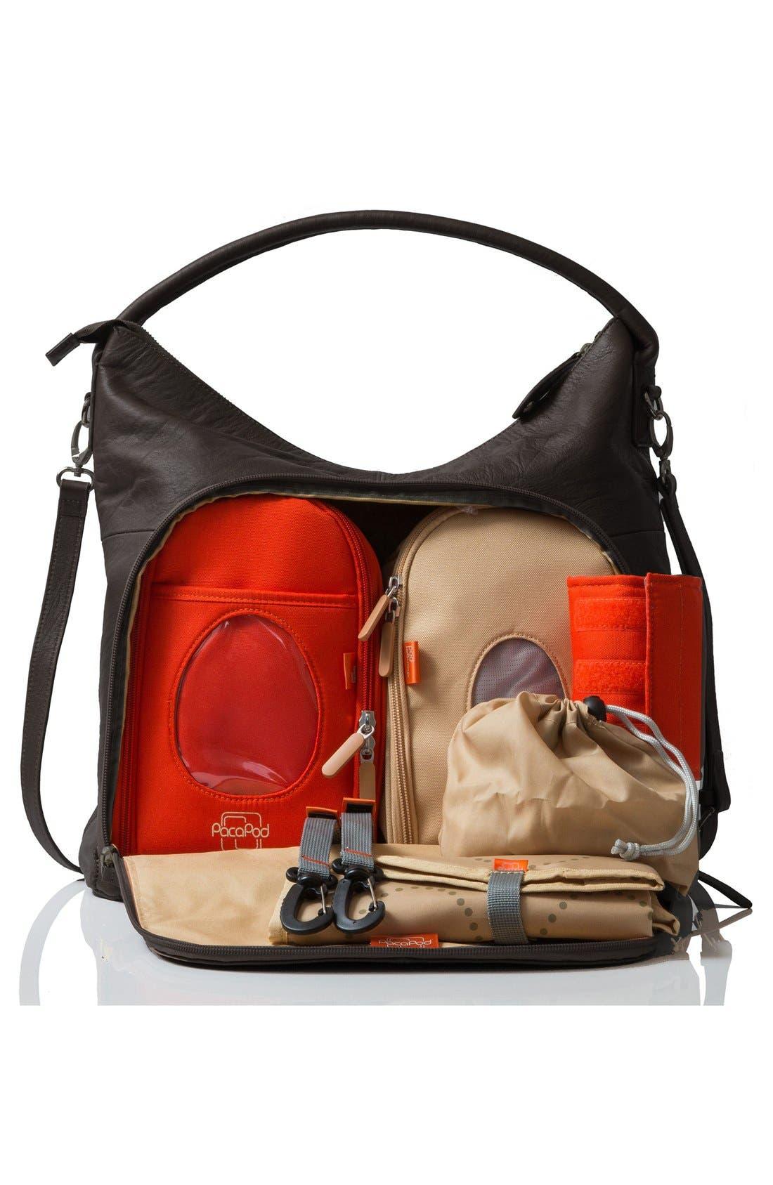 'Jasper' Leather Diaper Bag,                             Alternate thumbnail 2, color,                             001