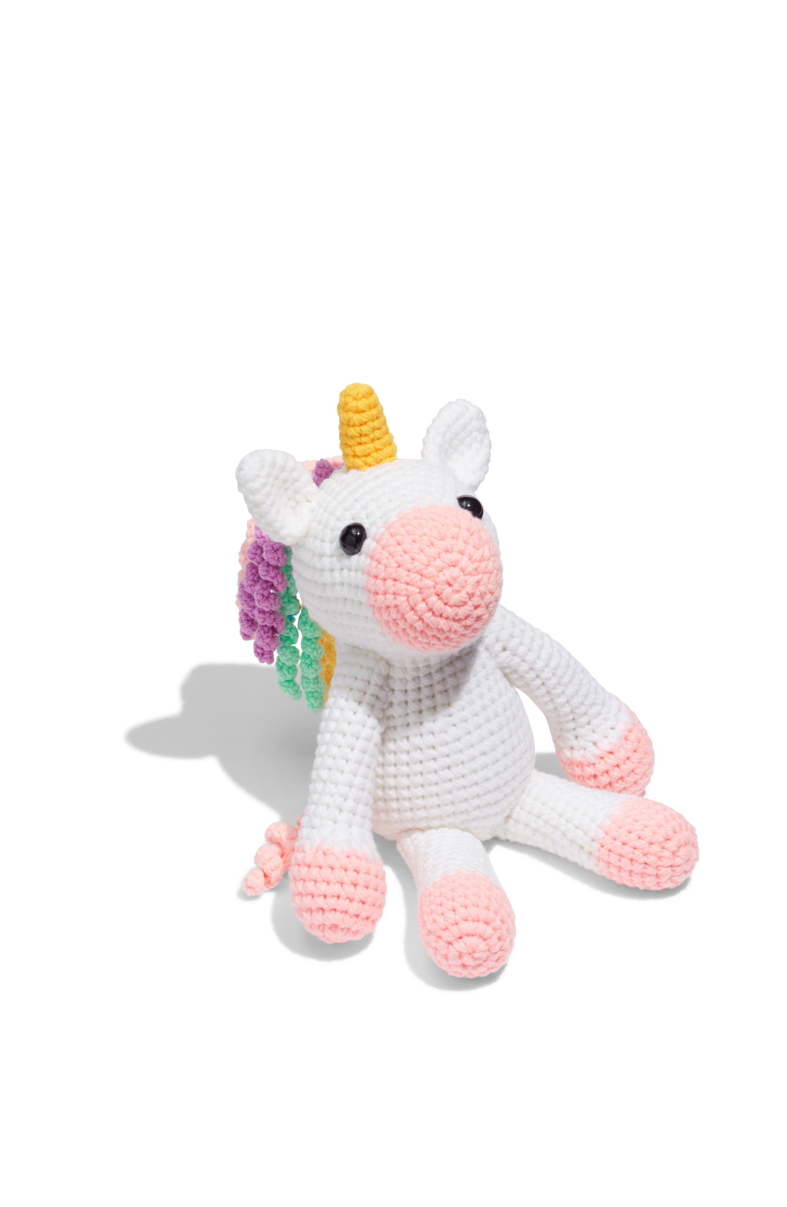 Twinks Crochet Unicorn Doll,                             Main thumbnail 1, color,                             WHITE/ MULTI