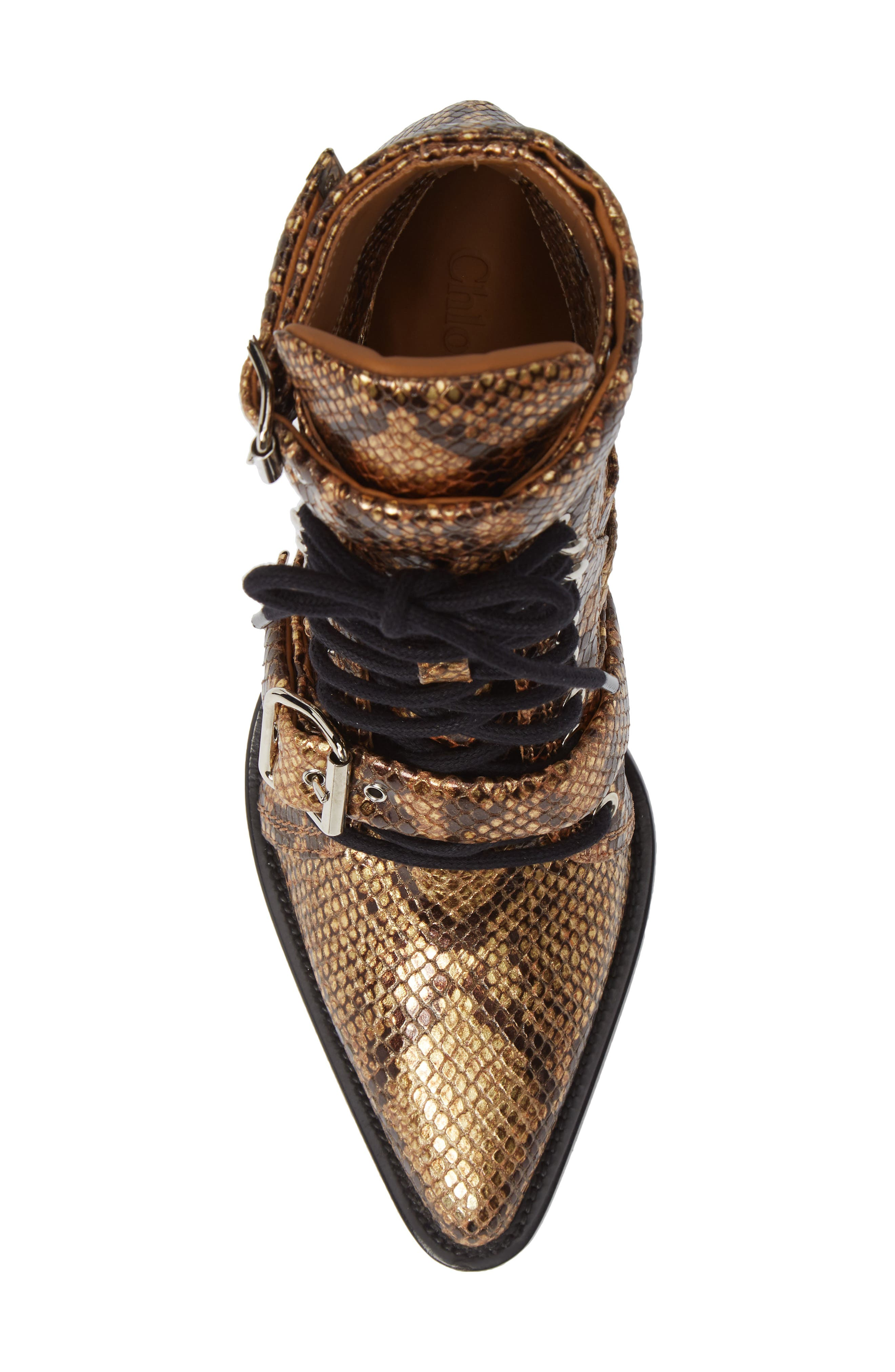 CHLOÉ,                             Rylee Pointy Toe Cage Boot,                             Alternate thumbnail 5, color,                             HARVEST GOLD LEATHER