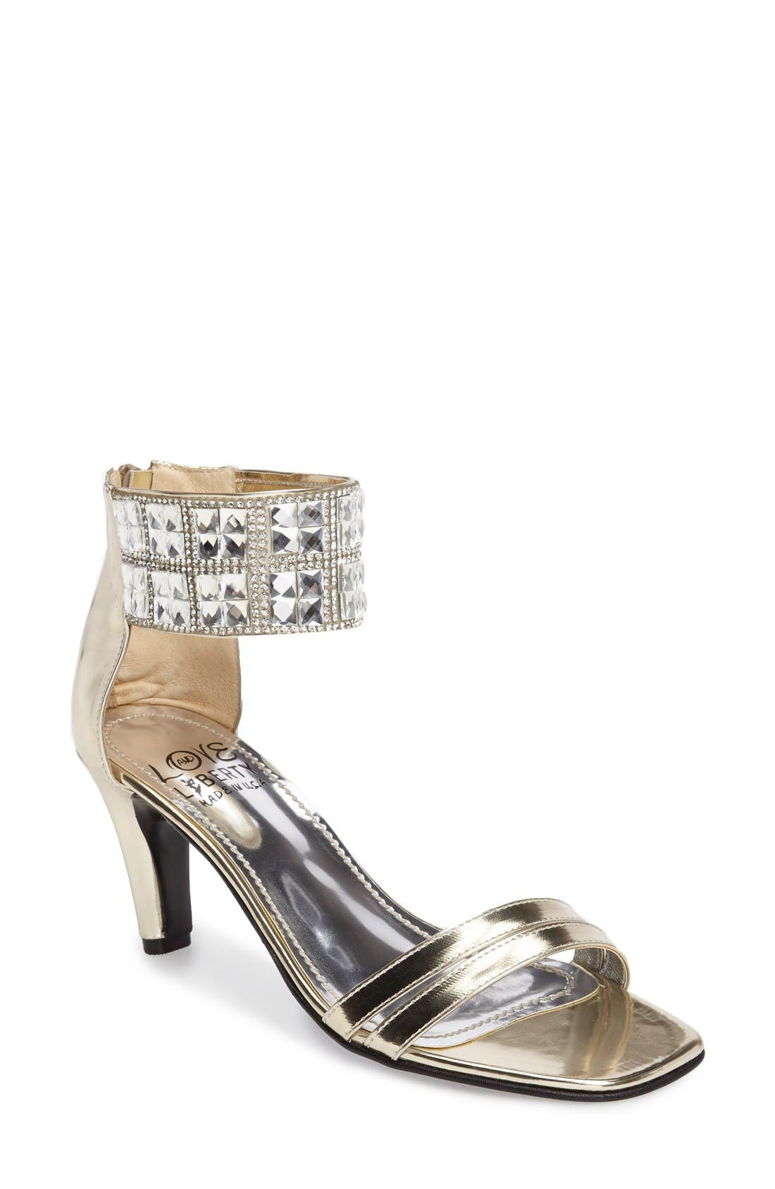 Scarlett Crystal Embellished Evening Sandal,                             Main thumbnail 1, color,                             PLATINUM FAUX LEATHER