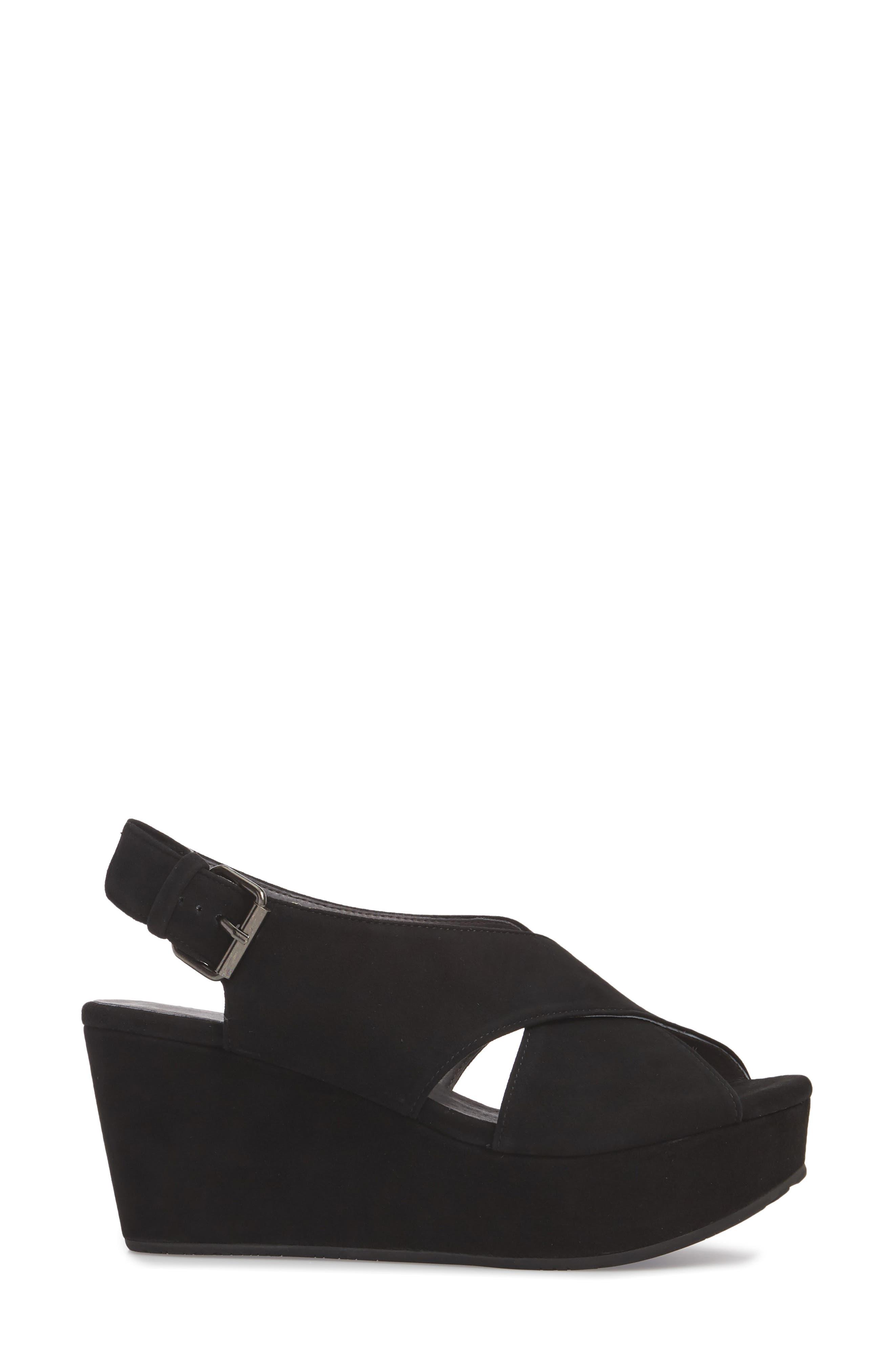 Wim Platform Wedge Sandal,                             Alternate thumbnail 3, color,                             BLACK SUEDE