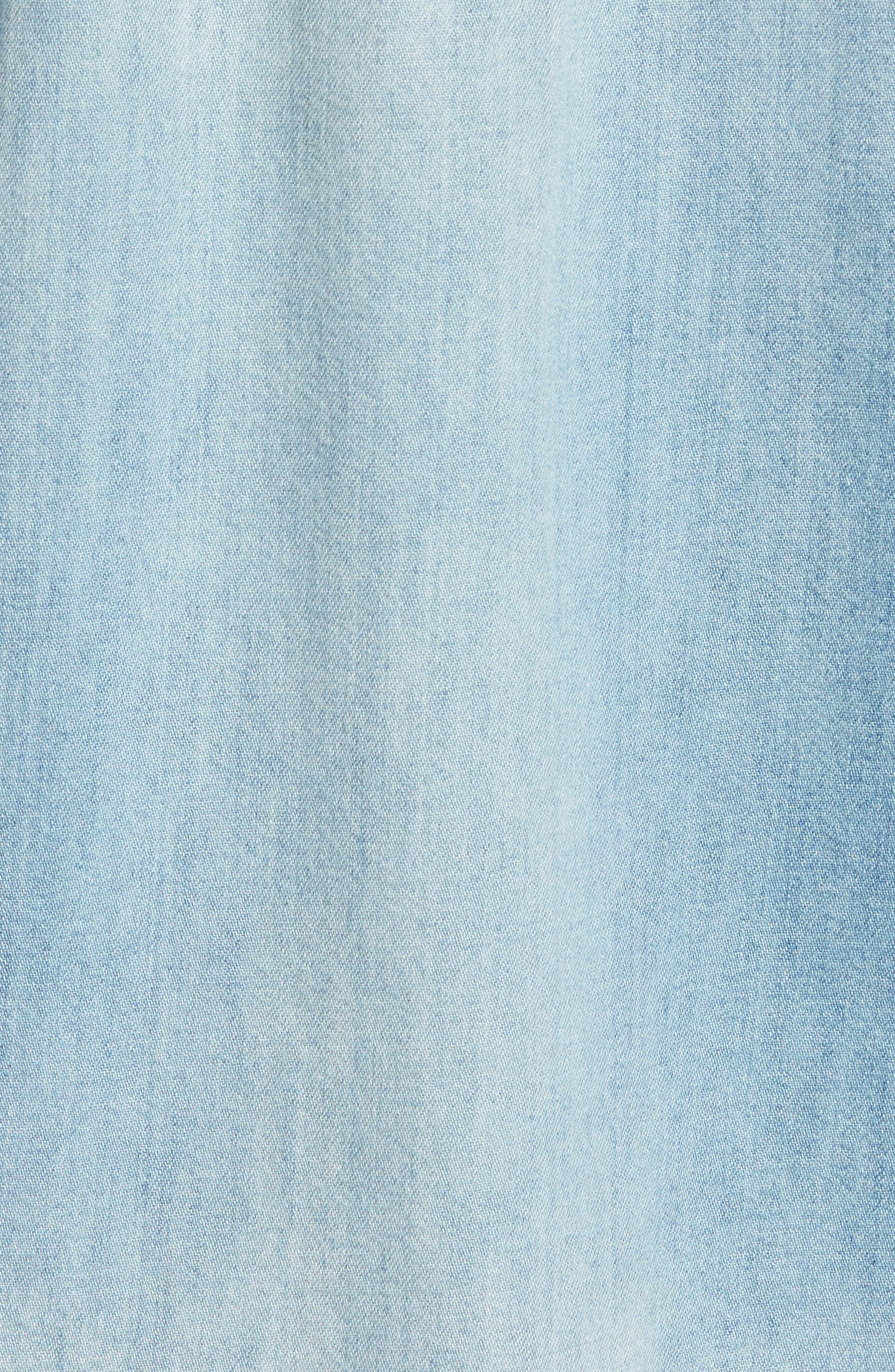 Hudson Slim Fit Destructed Denim Shirt,                             Alternate thumbnail 5, color,