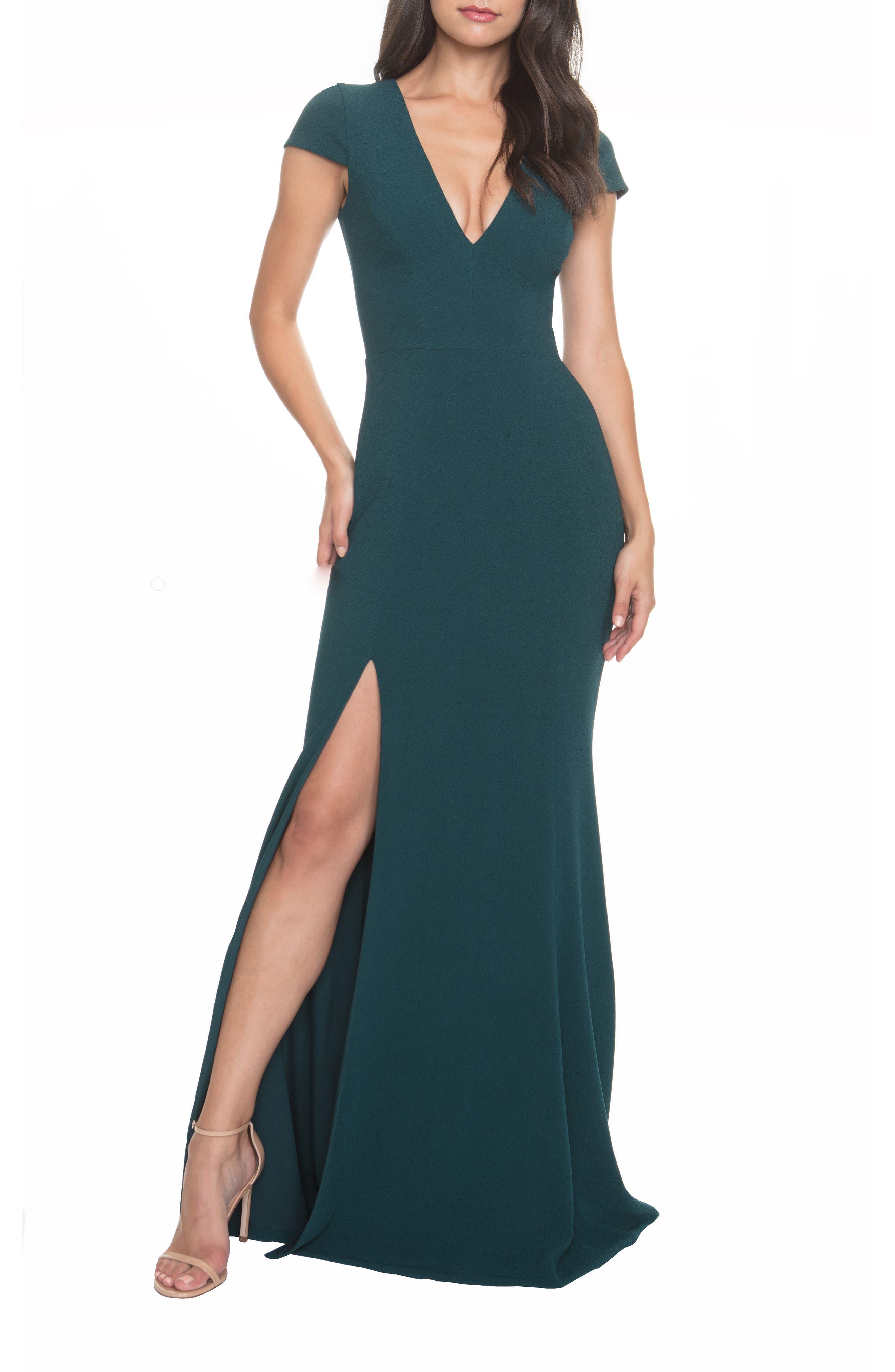 Dress The Population Karla V-Neck Trumpet Gown, Green
