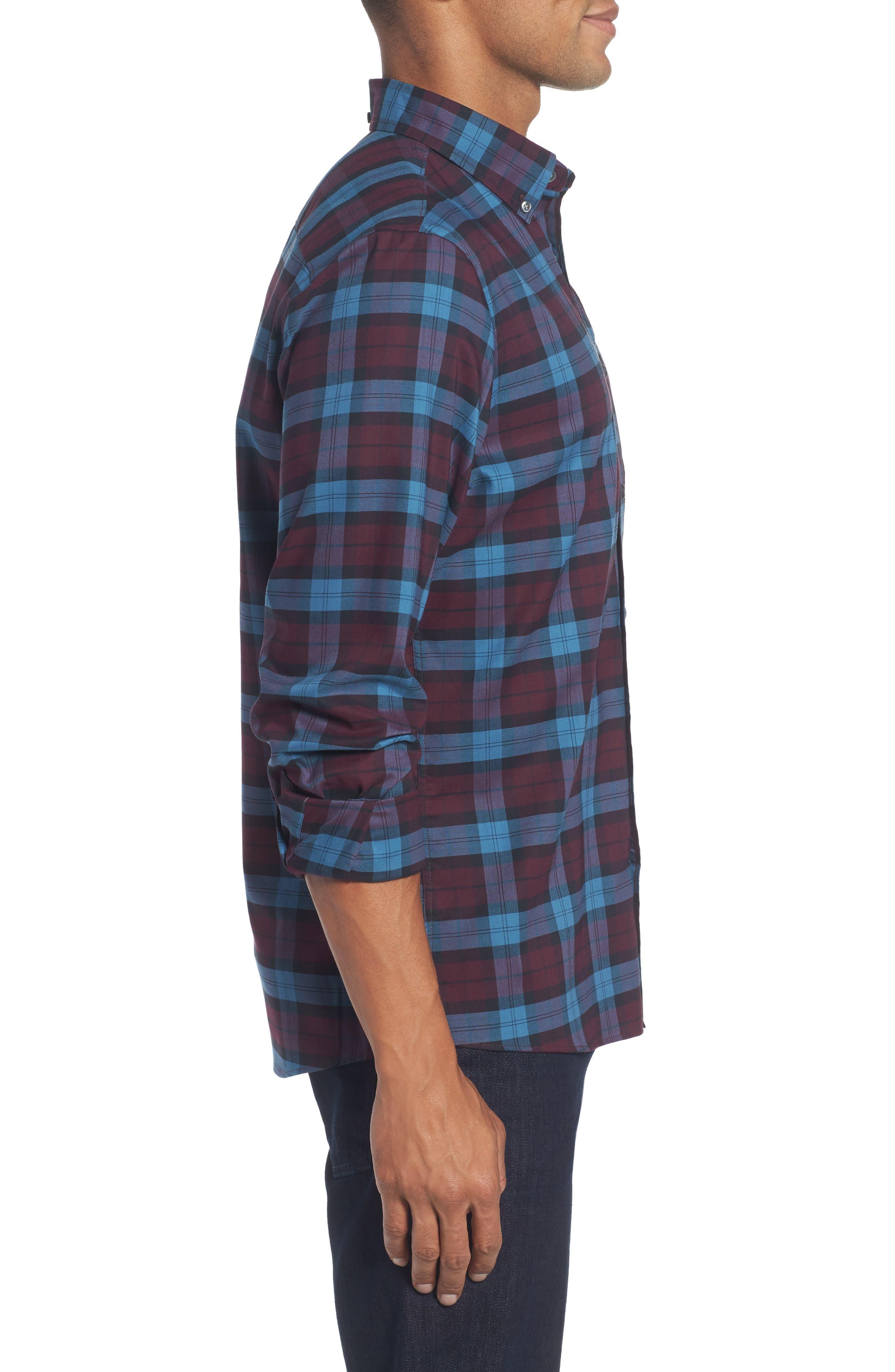 Tech-Smart Slim Fit Plaid Sport Shirt,                             Alternate thumbnail 3, color,