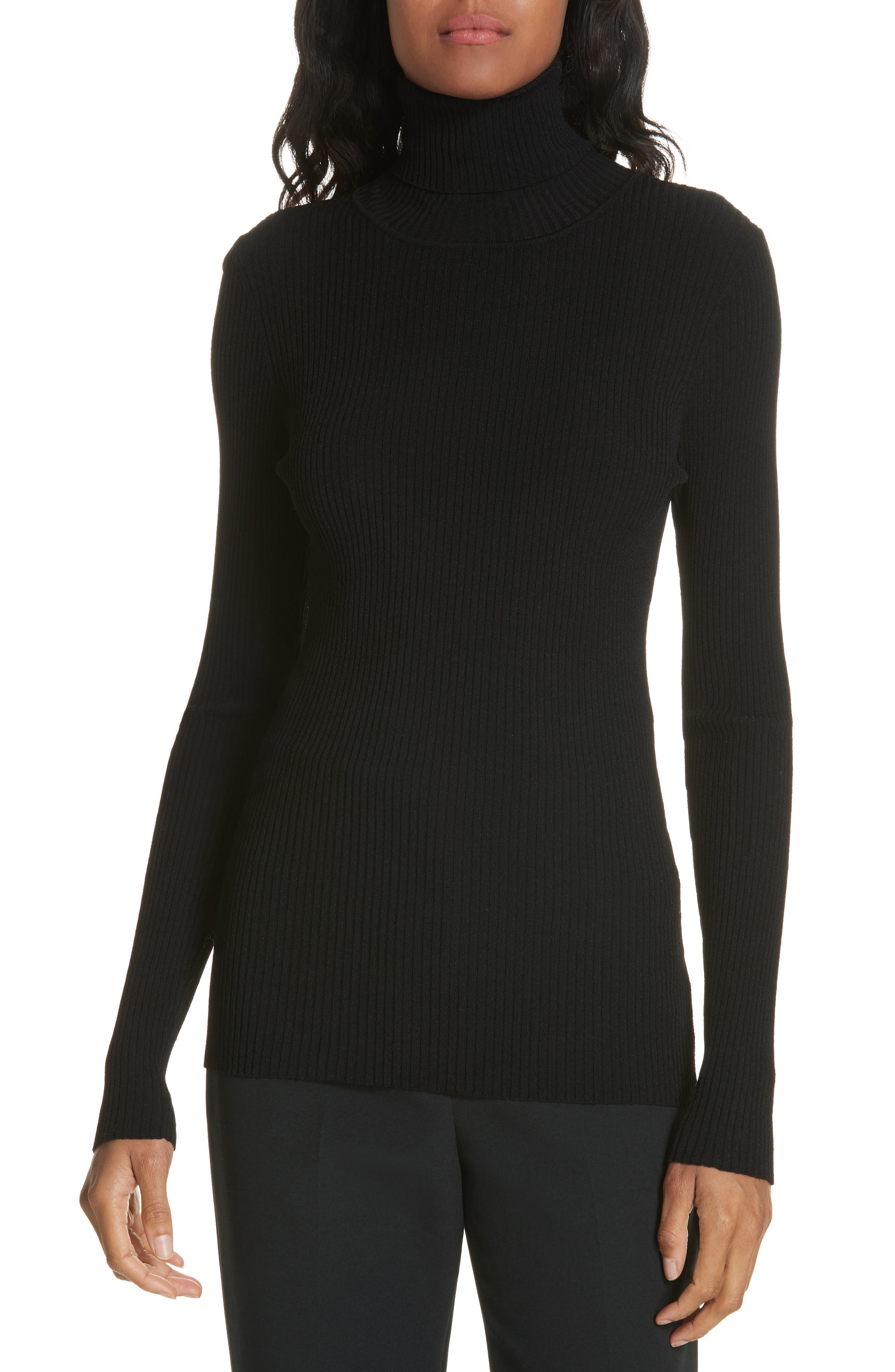 MILLY,                             Ribbed Turtleneck Sweater,                             Main thumbnail 1, color,                             001