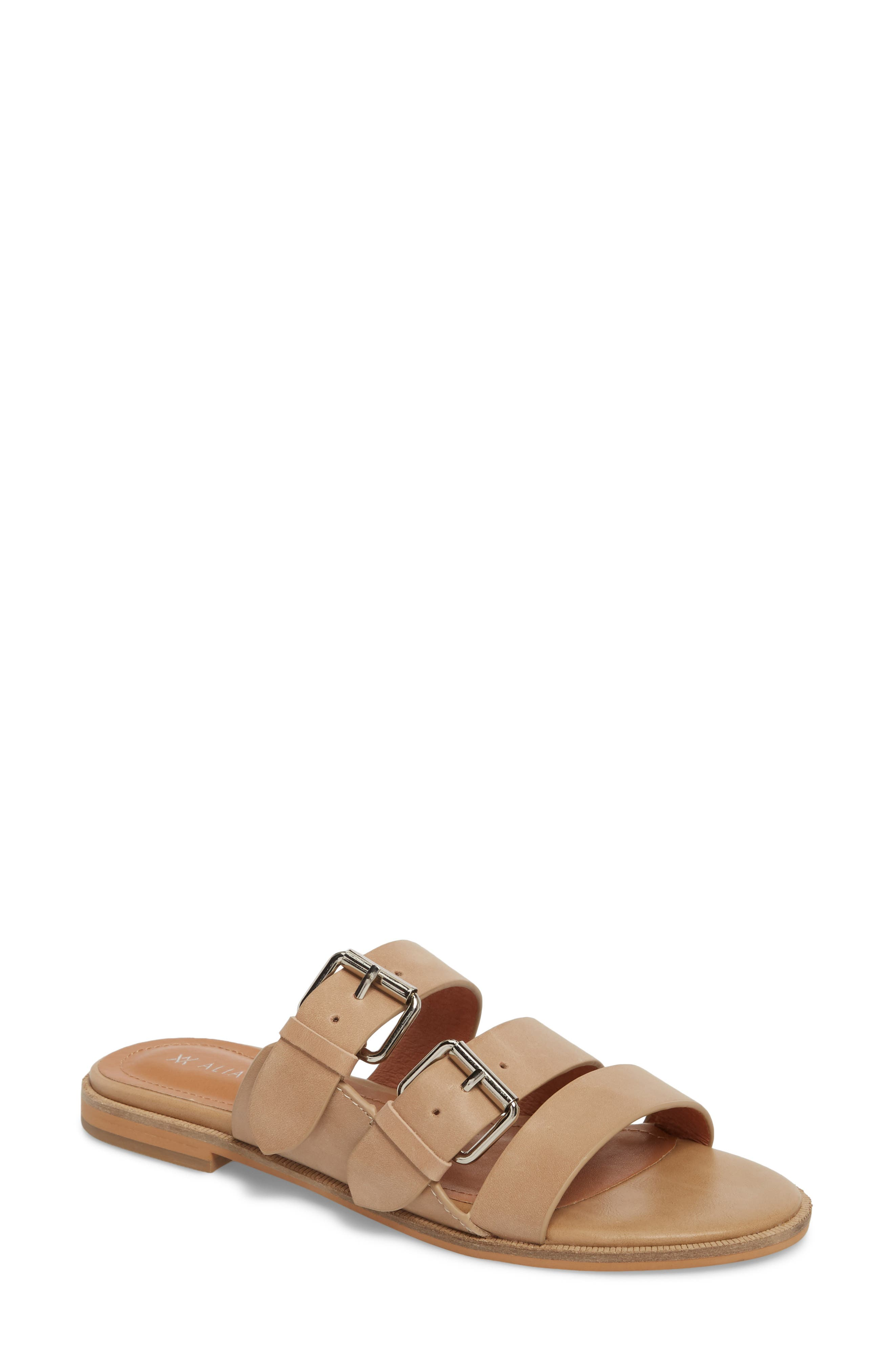 ALIAS MAE Theatre Buckled Slide Sandal in Natural Leather
