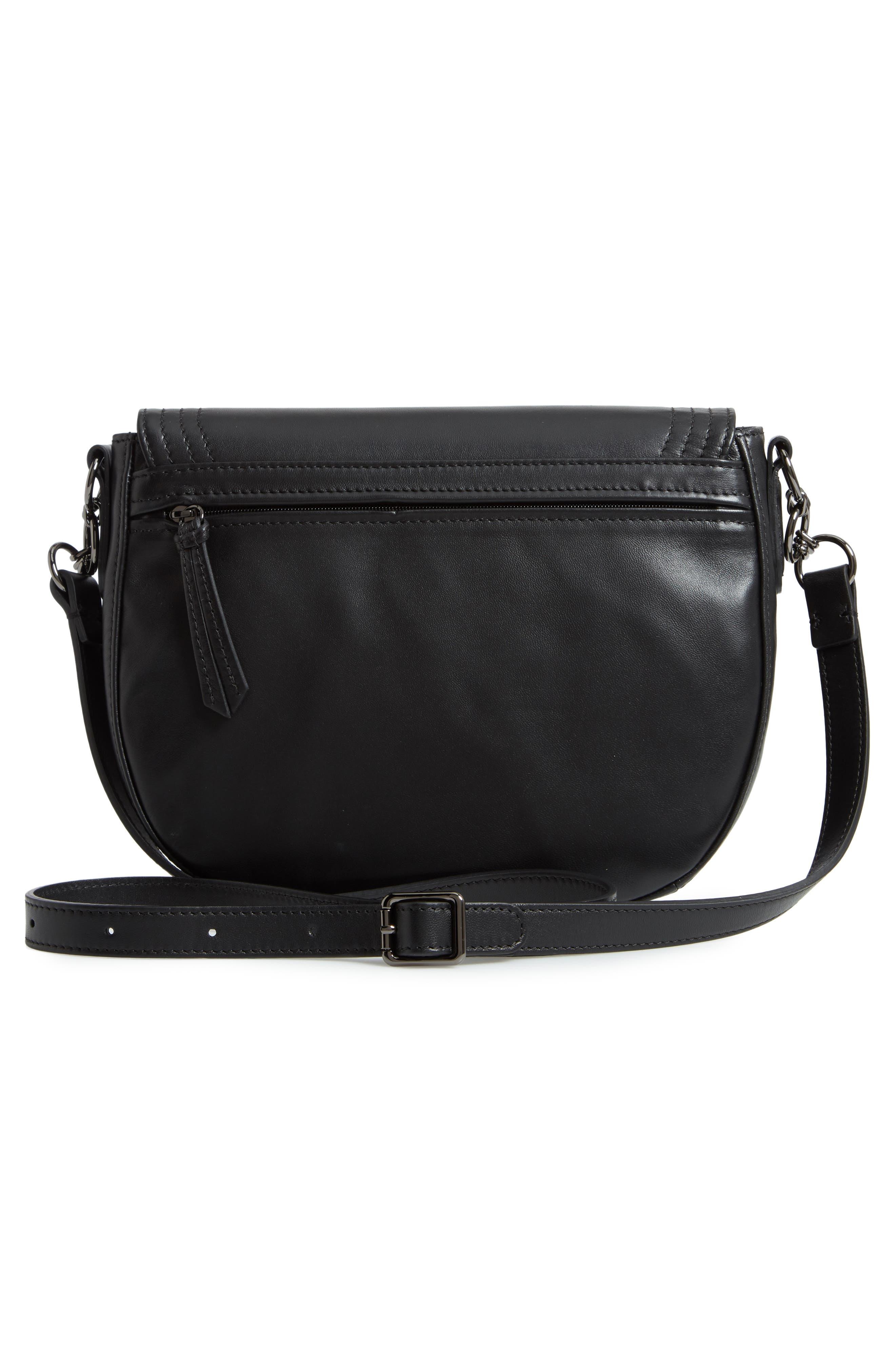 Medium Cavalcade Leather Saddle Bag,                             Alternate thumbnail 3, color,                             BLACK