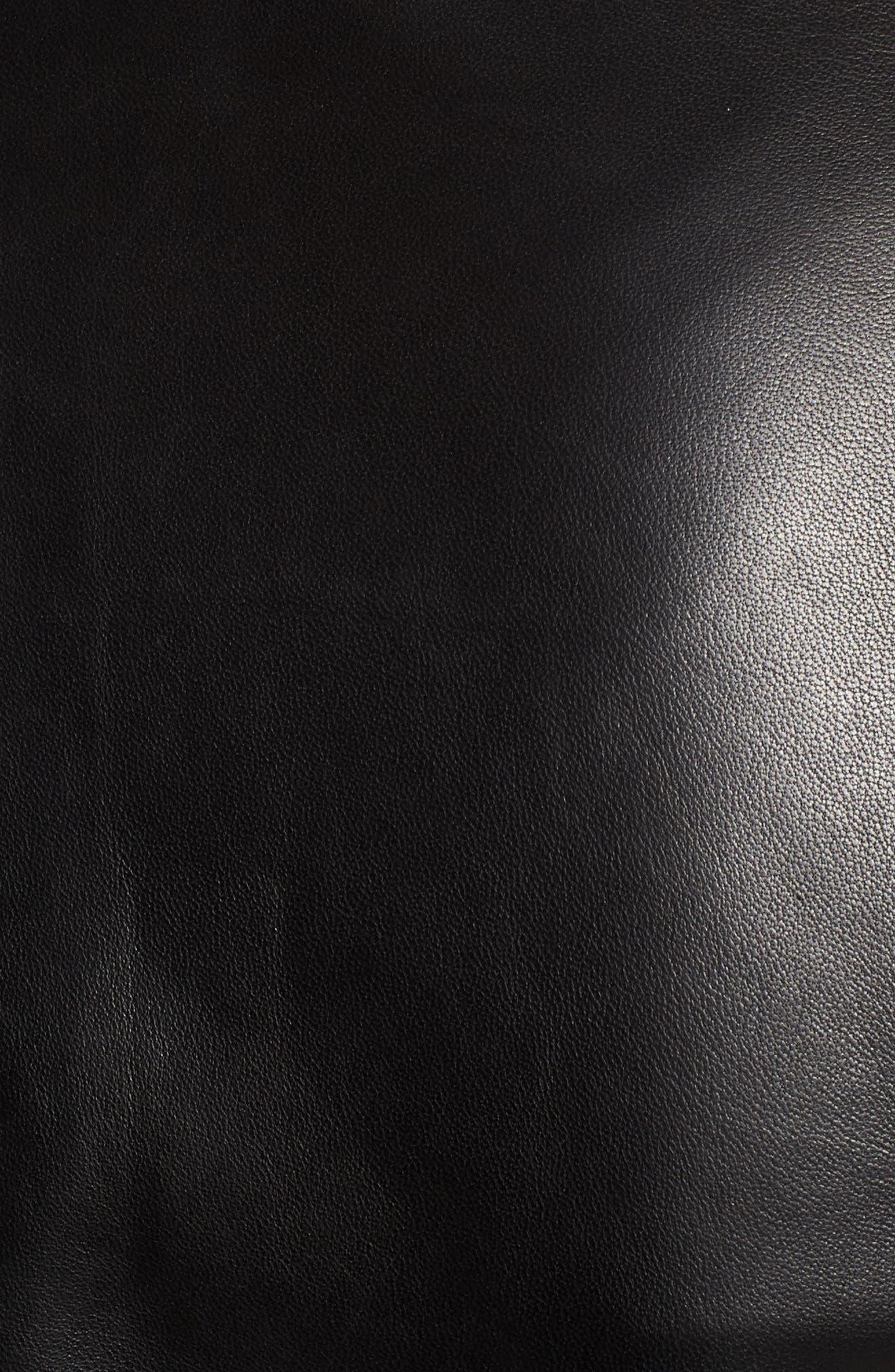 Drape Front Leather Jacket,                             Alternate thumbnail 7, color,                             BLACK