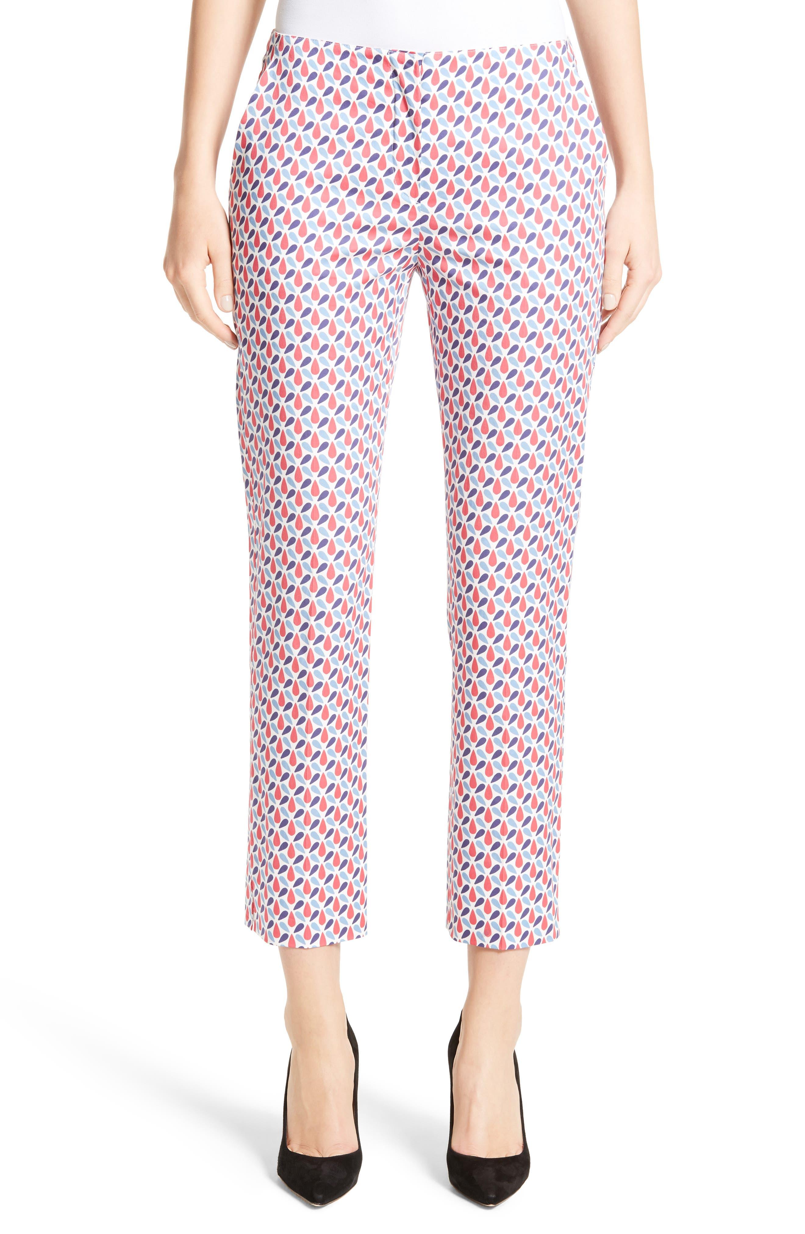 Print Stretch Cotton Ankle Pants,                         Main,                         color, 600