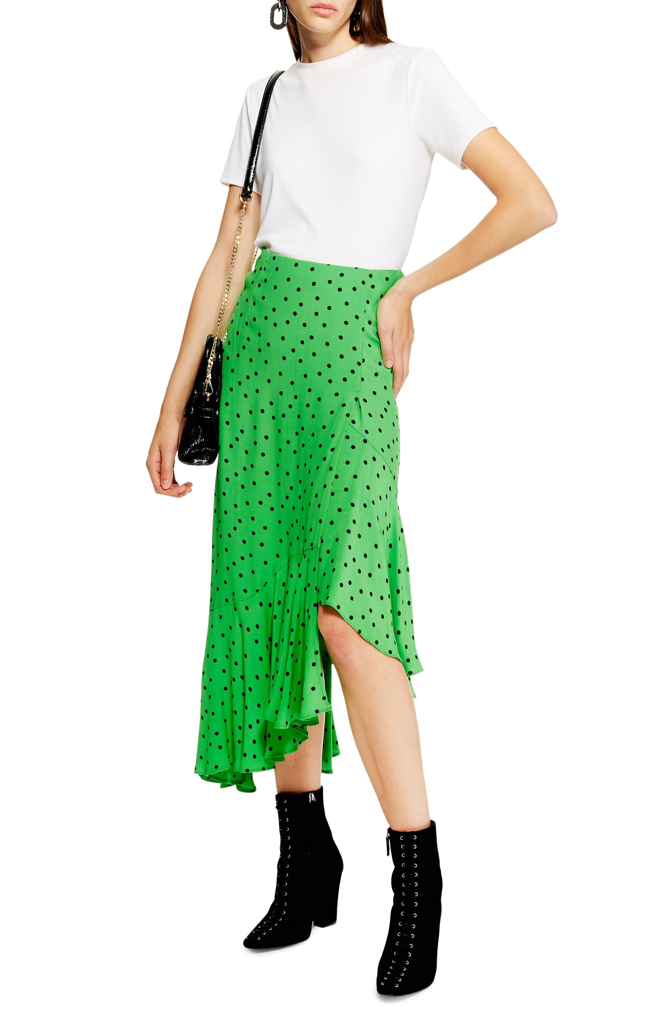 Topshop Spot Frill Midi Skirt, US (fits like 0) - Green