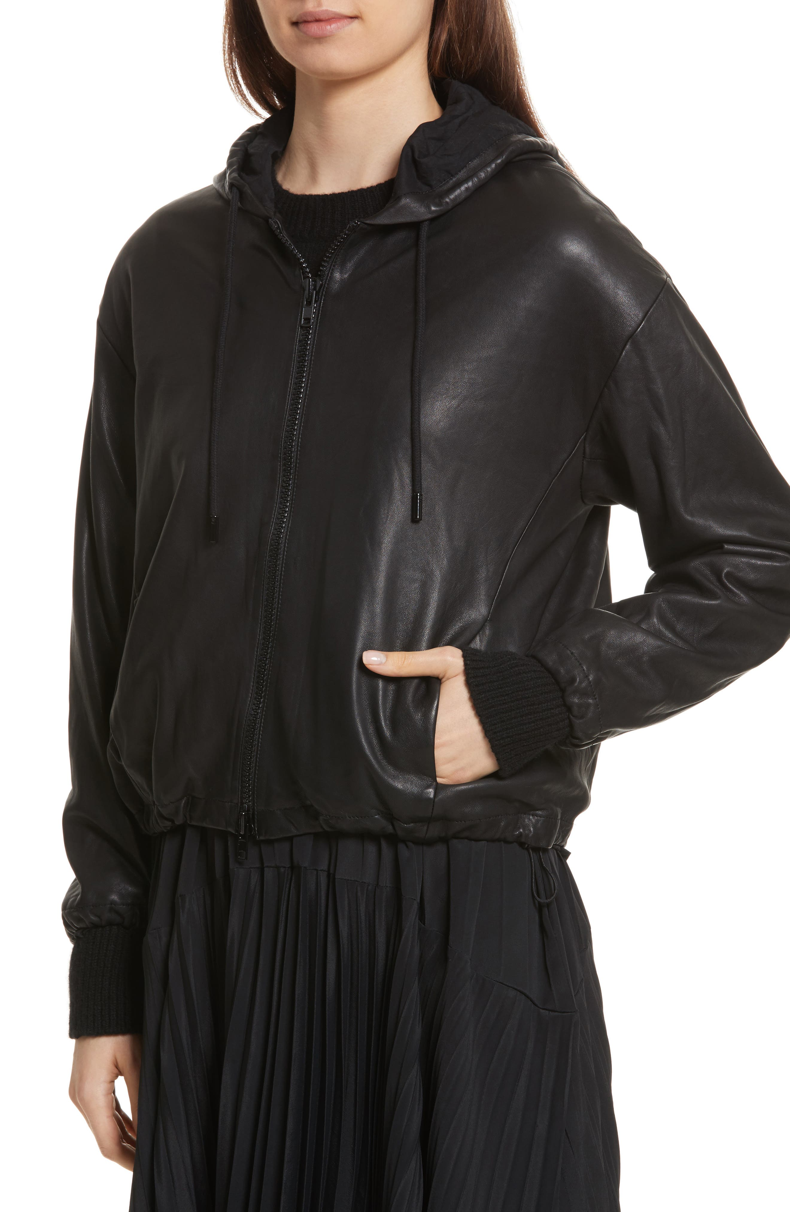 Leather Zip-Up Hoodie,                             Alternate thumbnail 4, color,                             001