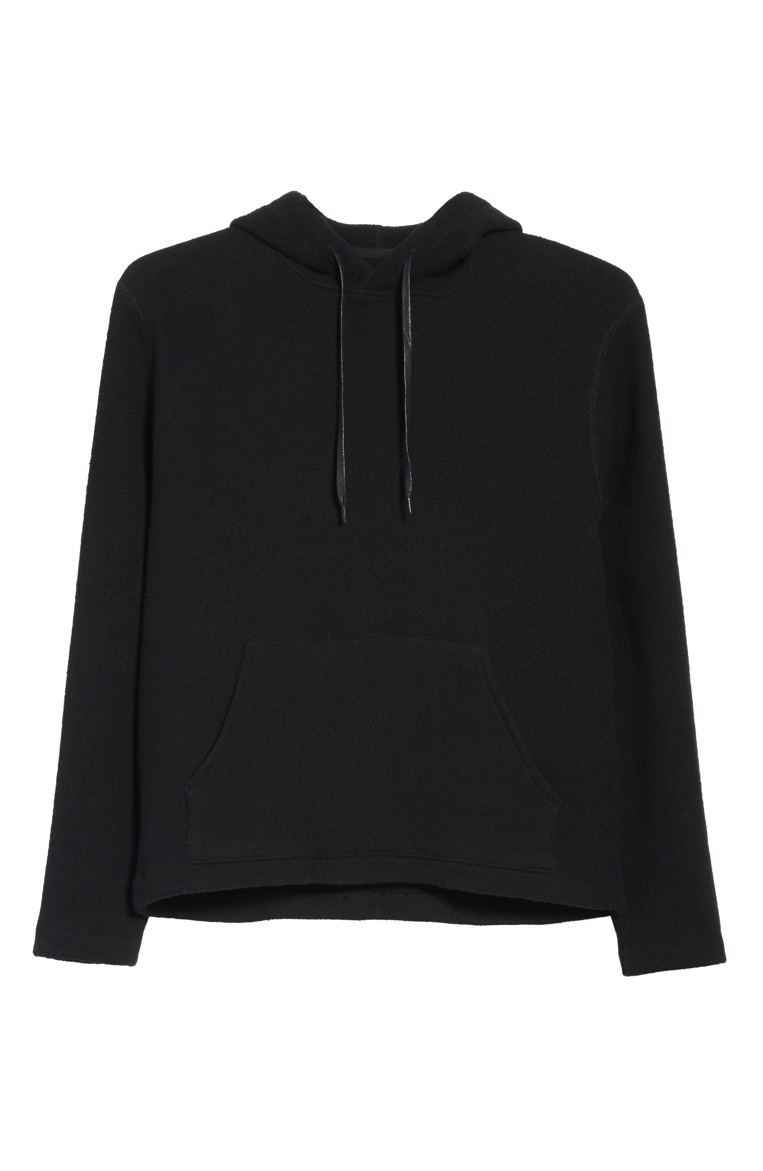 Chunky Waffle Knit Hoodie,                             Alternate thumbnail 6, color,                             001