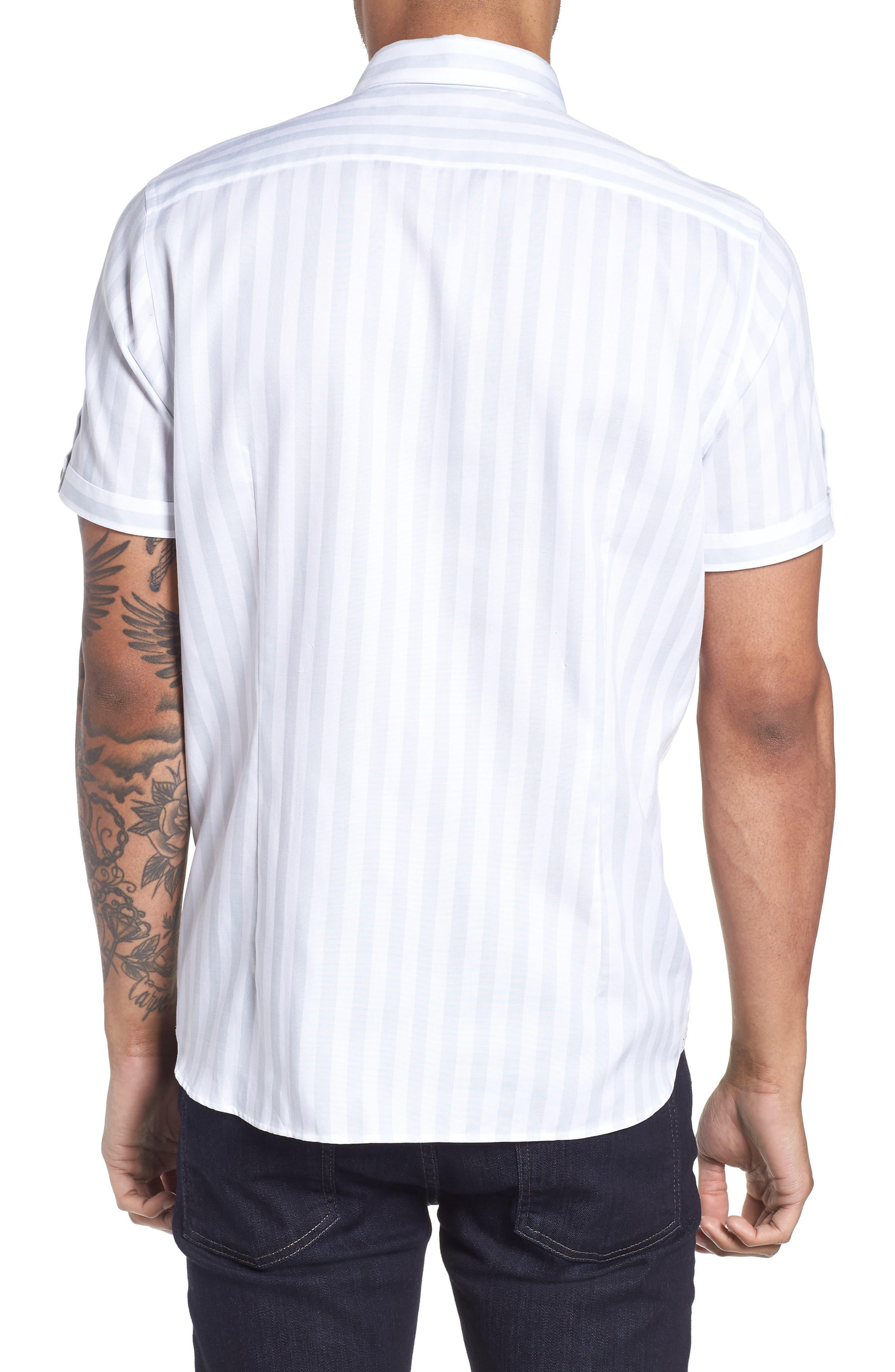 TED BAKER LONDON,                             Vertical Stripe Trim Fit Short Sleeve Sport Shirt,                             Alternate thumbnail 2, color,                             311