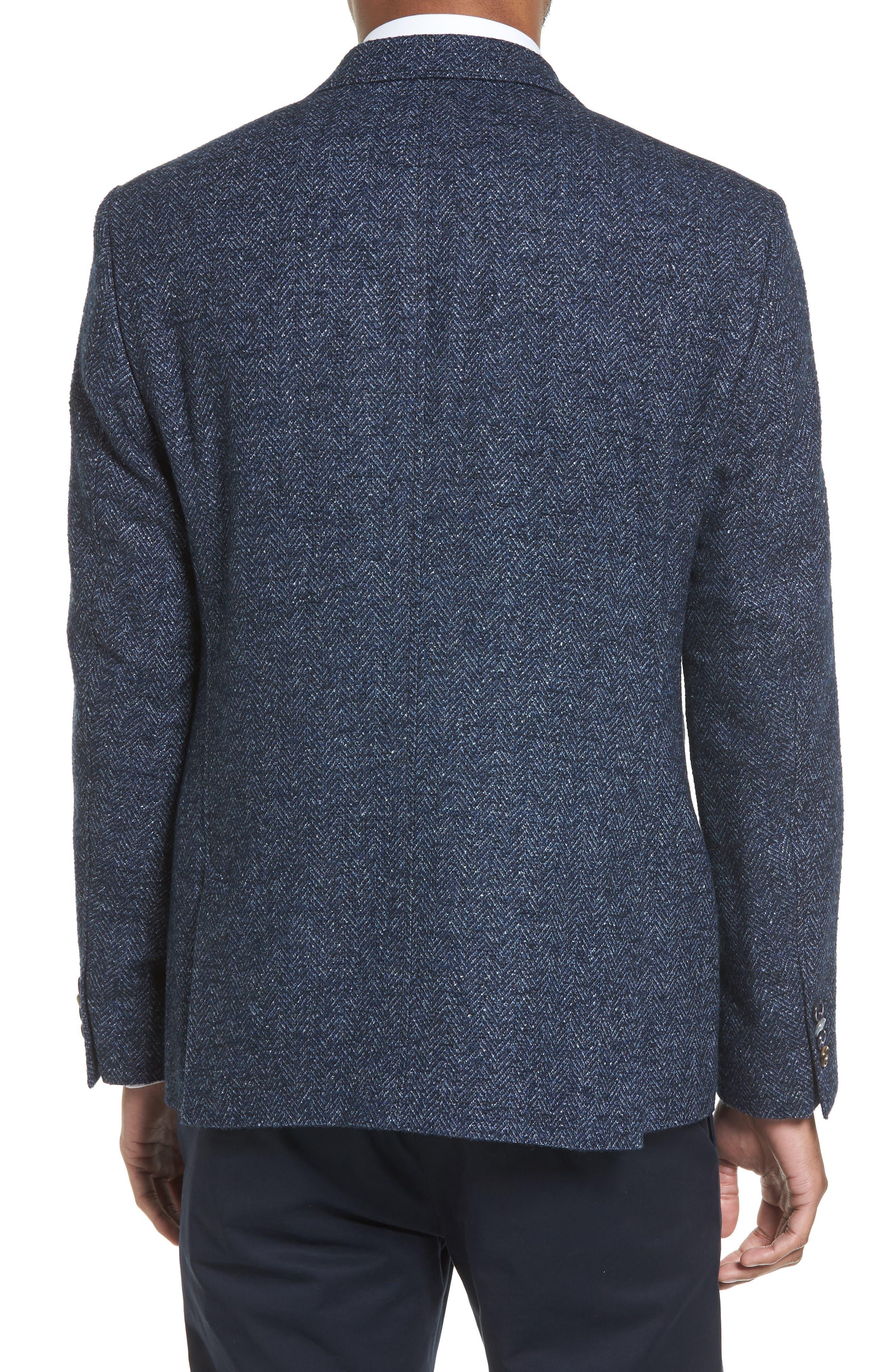 Trim Fit Herringbone Wool Blend Sport Coat,                             Alternate thumbnail 2, color,