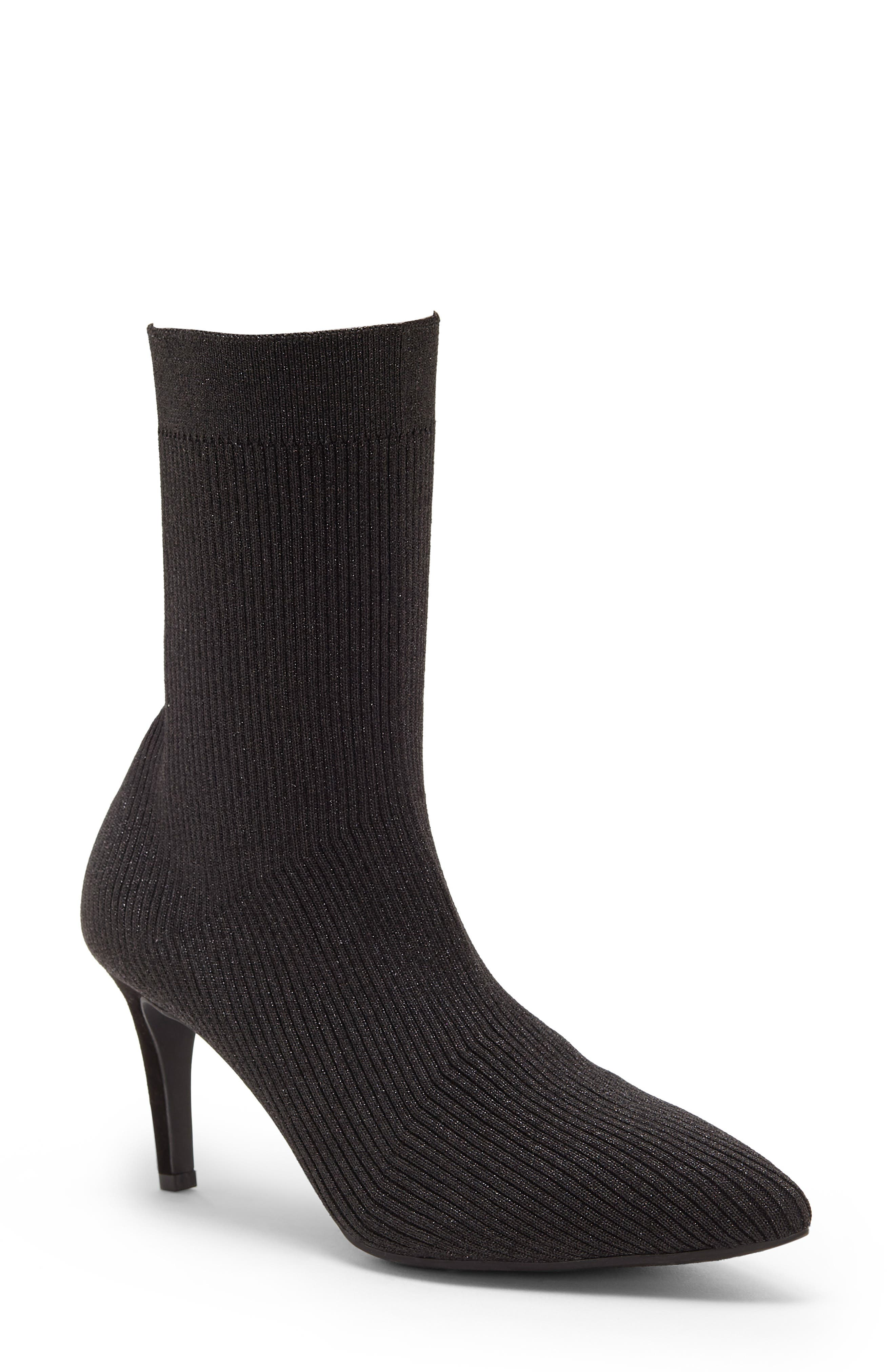 Roreeta Sock Boot, Main, color, BLACK FABRIC