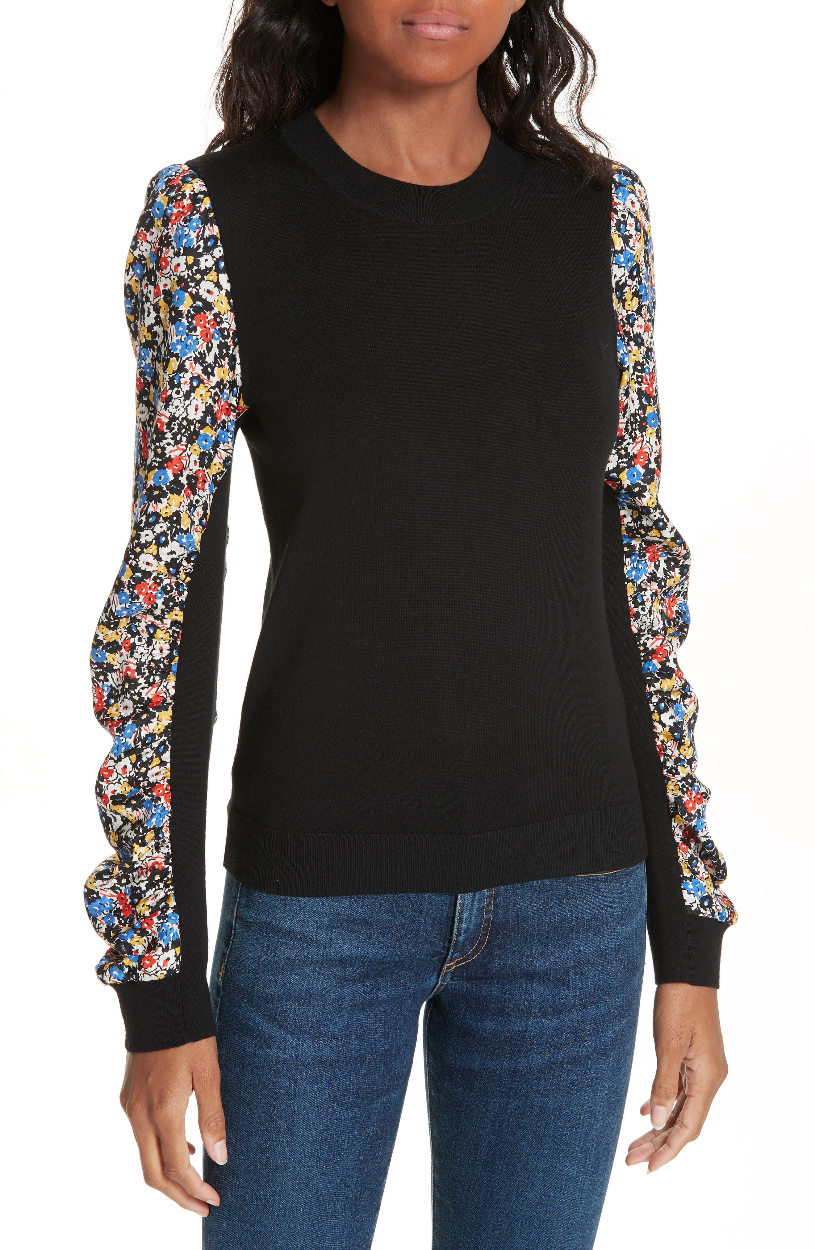 Adler Stretch Silk Sleeve Merino Wool Sweater,                             Main thumbnail 1, color,                             BLACK FLORAL