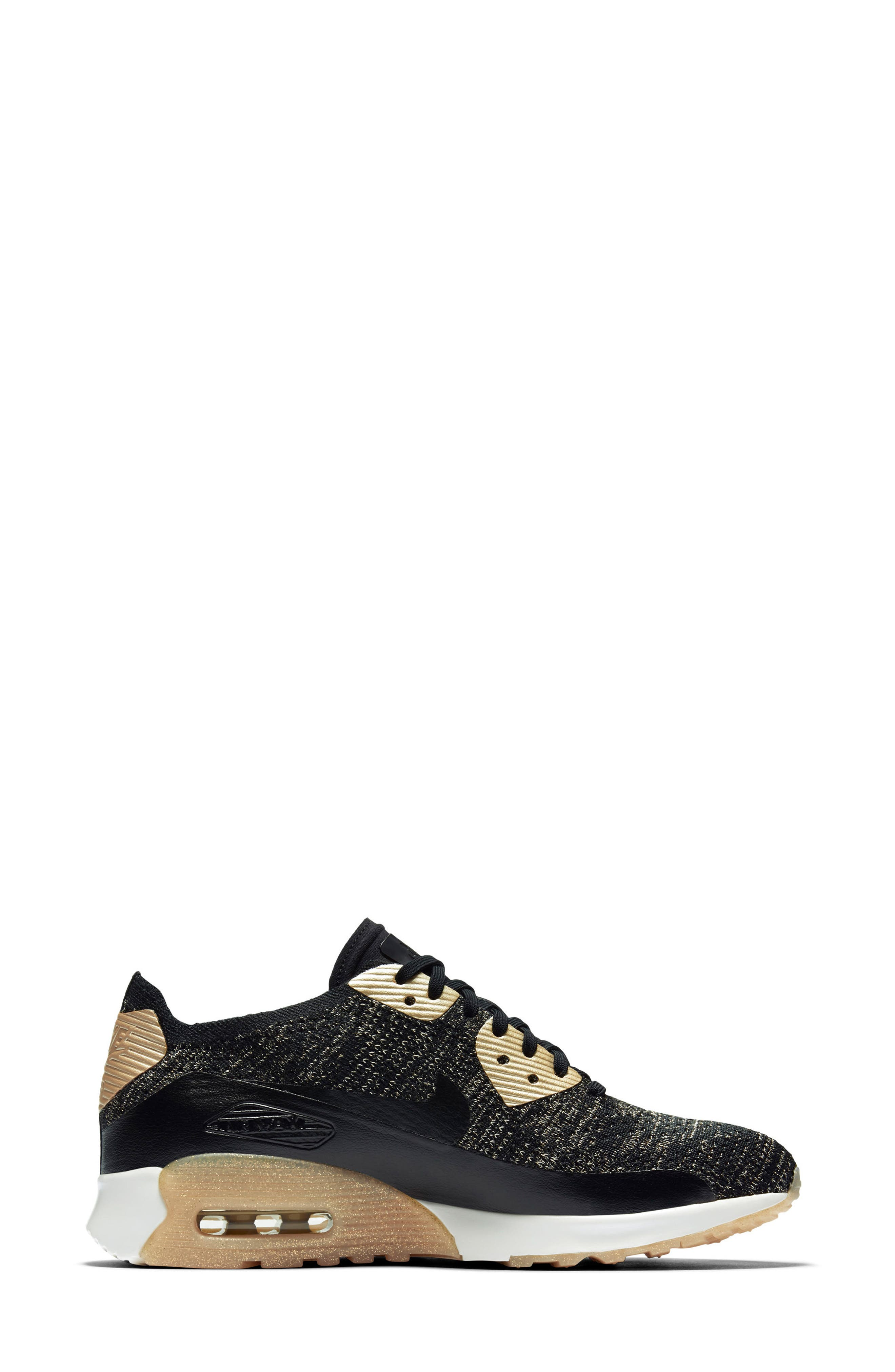 Air Max 90 Ultra 2.0 Flyknit Metallic Sneaker,                             Alternate thumbnail 3, color,                             001