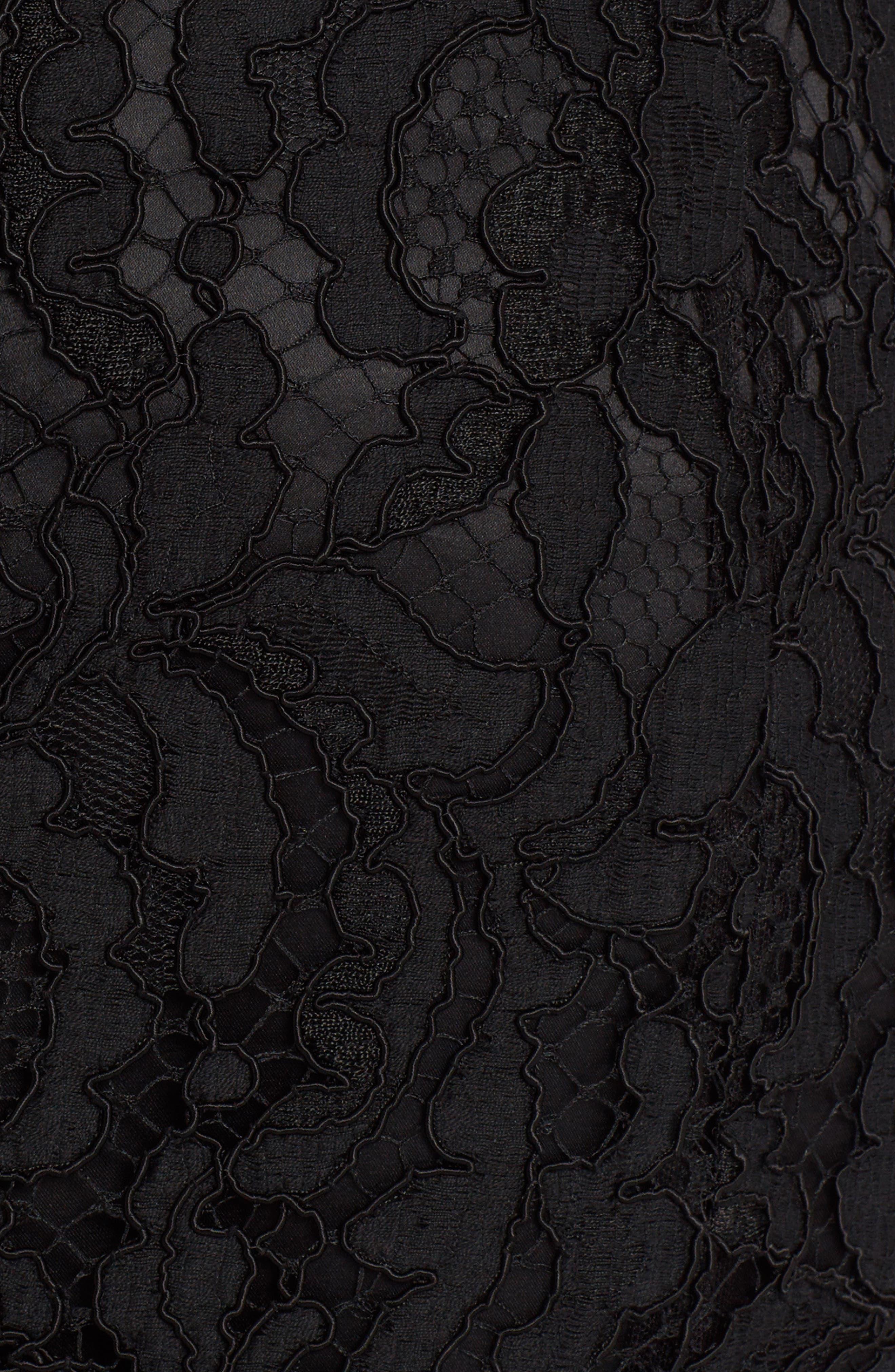 Lace Midi Skirt,                             Alternate thumbnail 5, color,                             BLACK