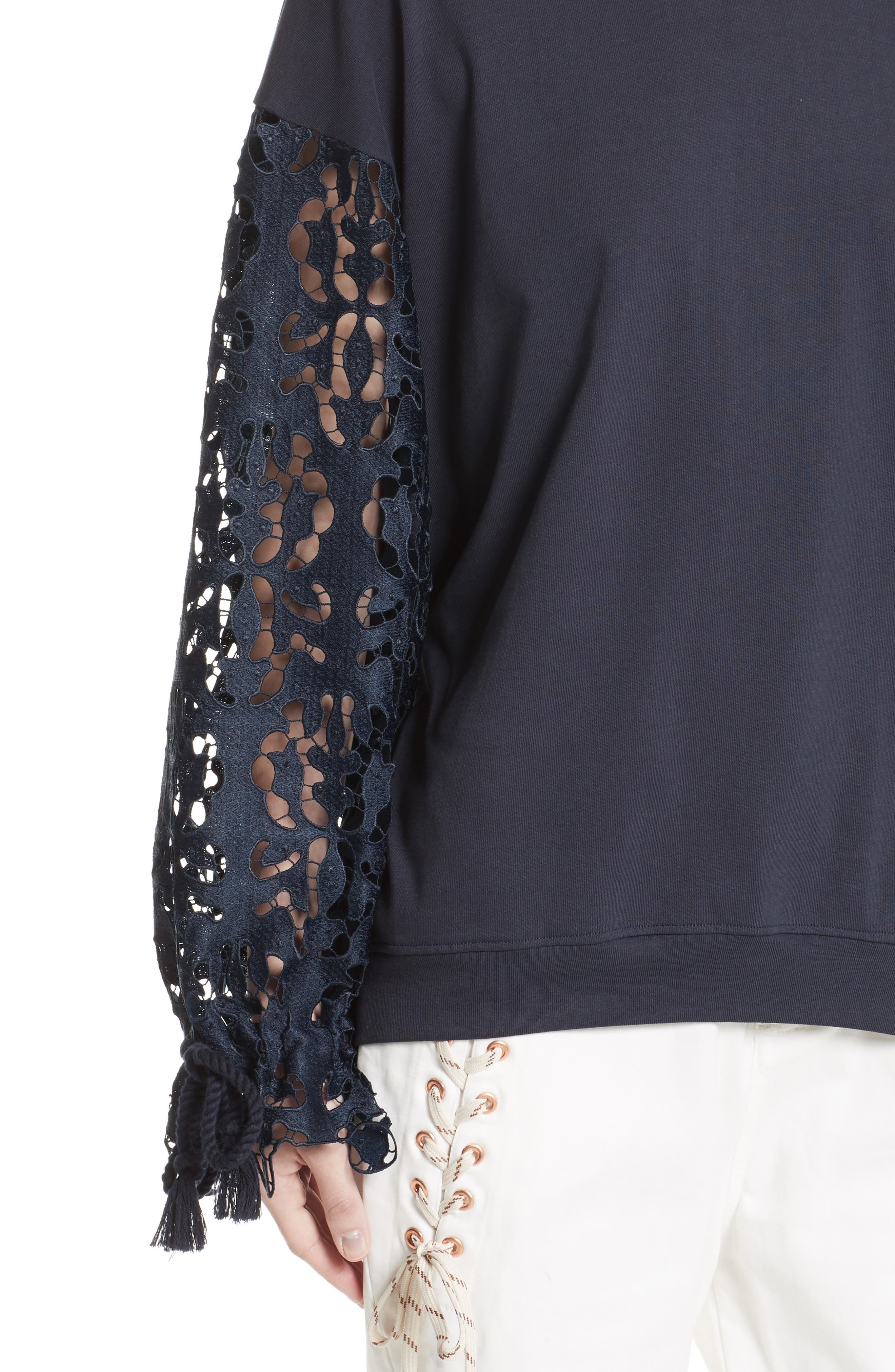 Lace Sleeve Jersey Top,                             Alternate thumbnail 4, color,
