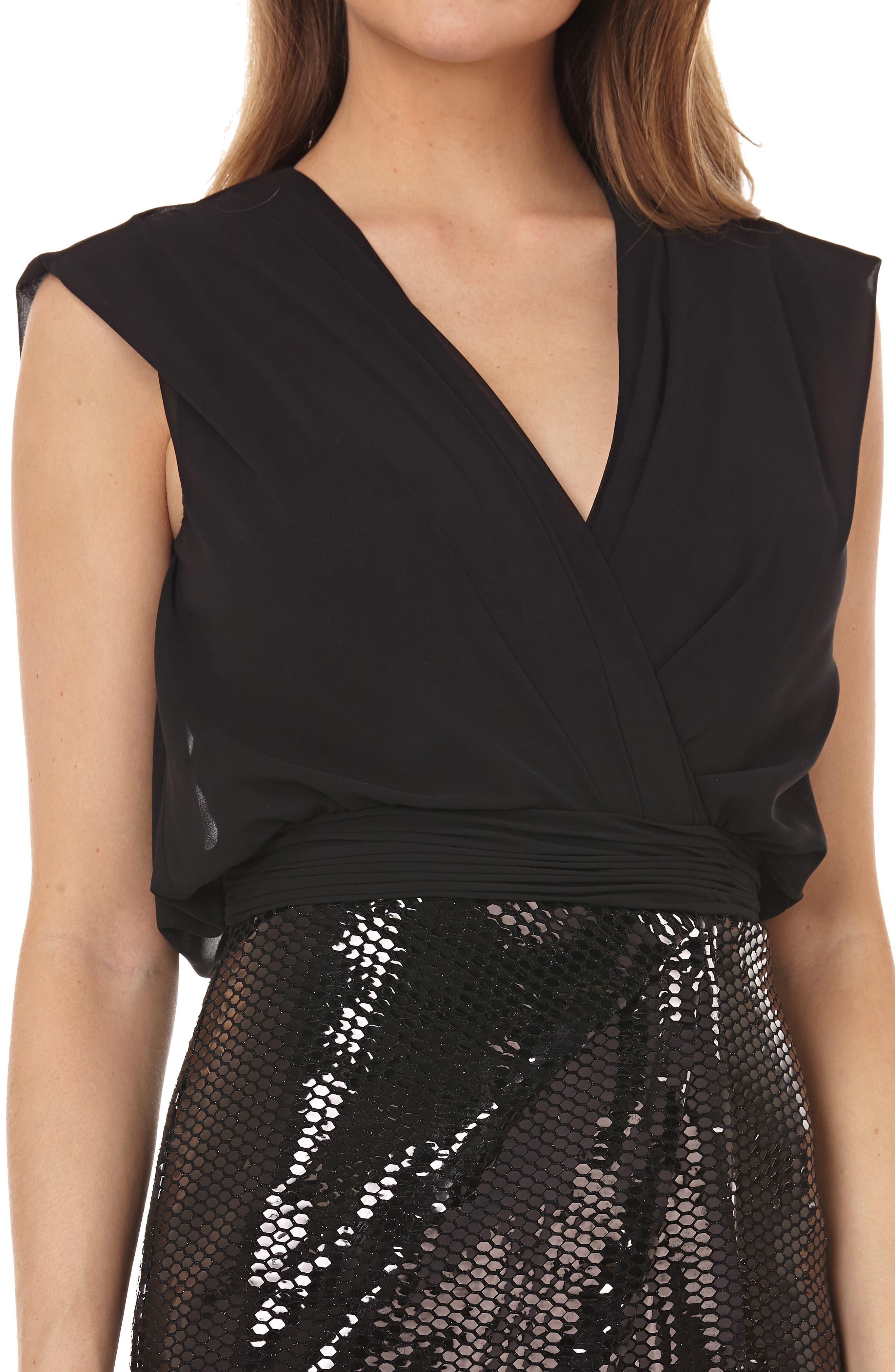 Sequin Gown,                             Alternate thumbnail 4, color,                             BLACK