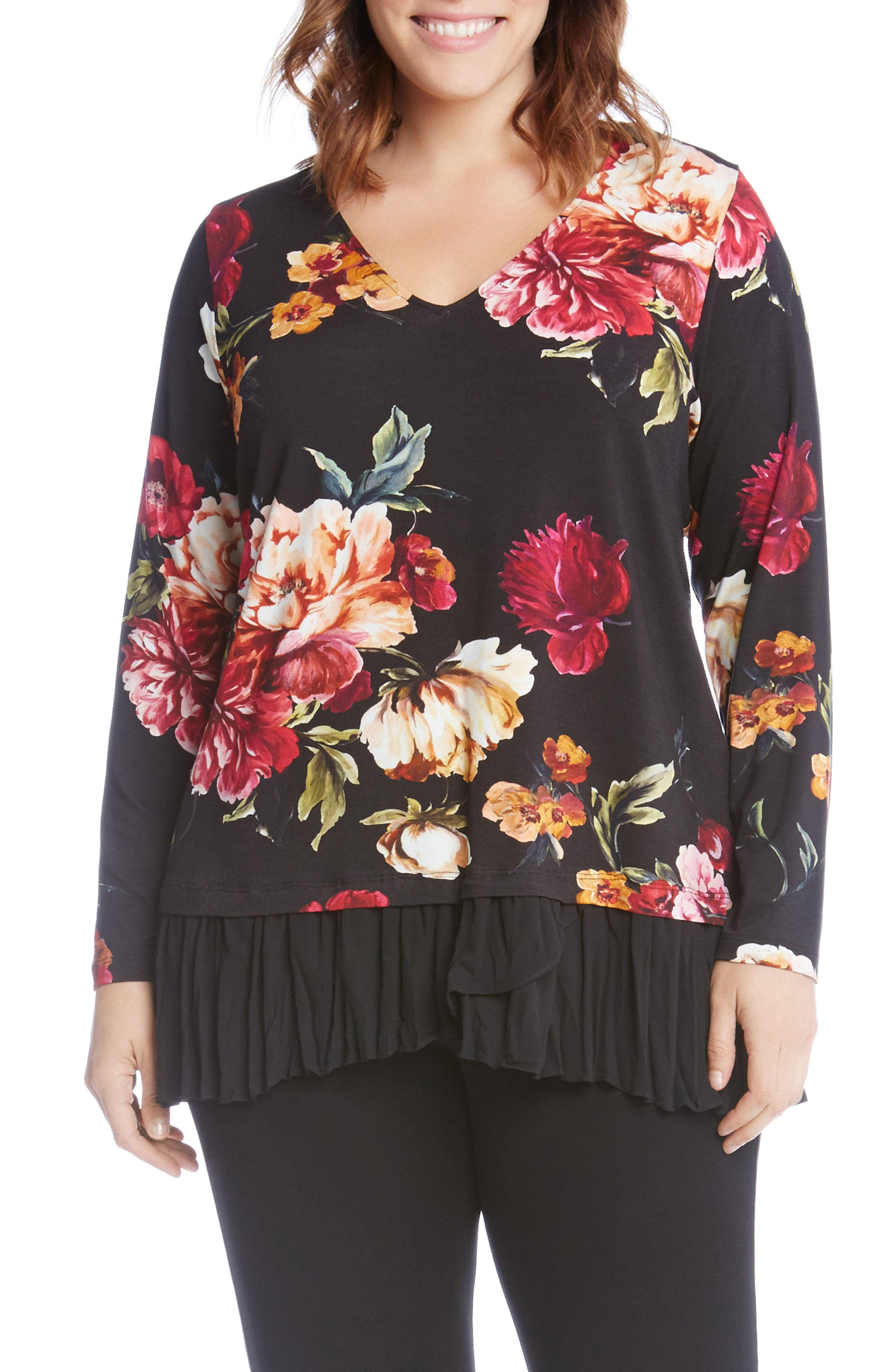 Floral Print Mixed Media Top,                         Main,                         color,