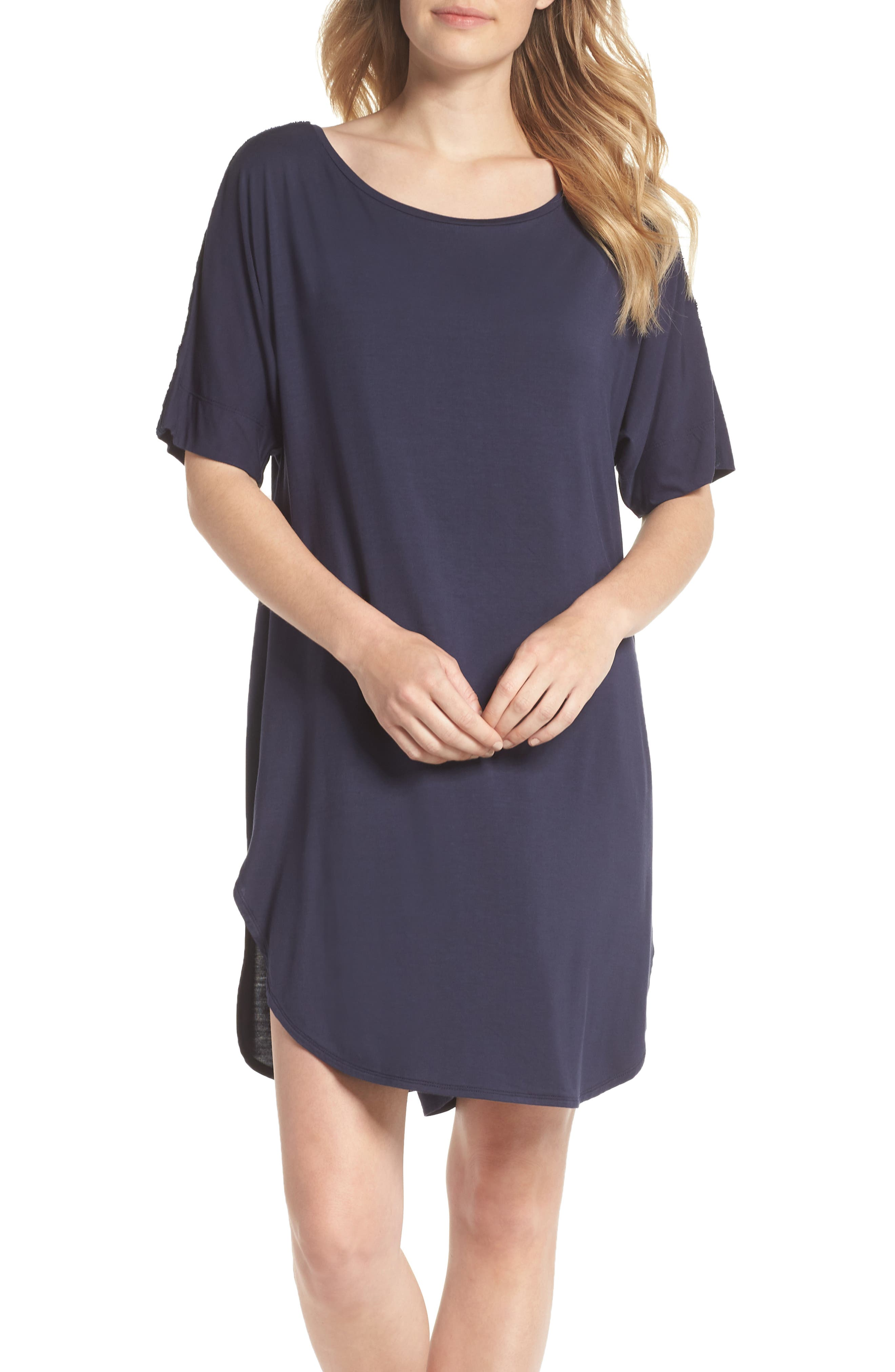 Feathers Essential Sleep Shirt,                         Main,                         color, NIGHT BLUE