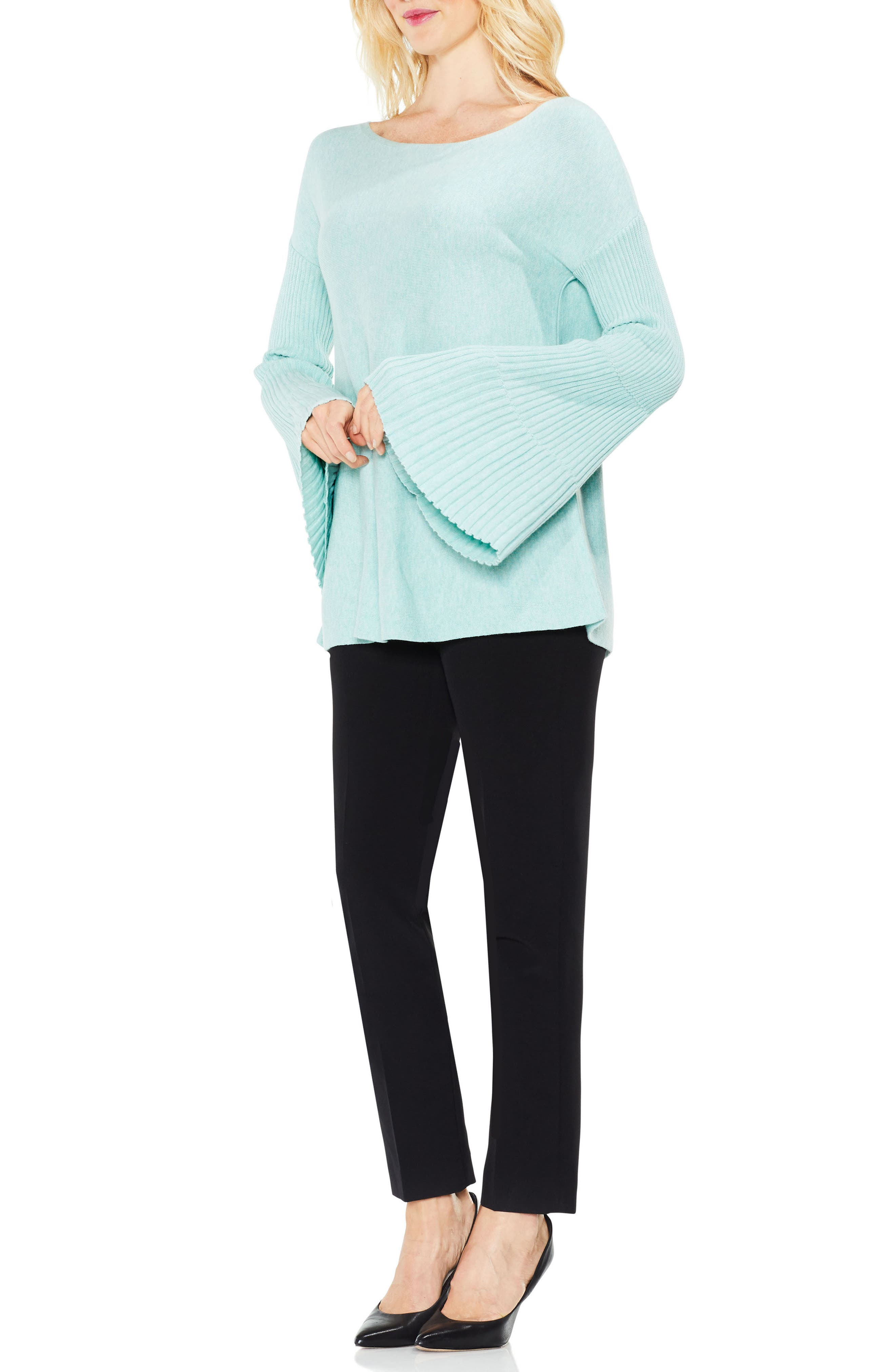 Bell Sleeve Ribbed Sweater,                             Alternate thumbnail 25, color,
