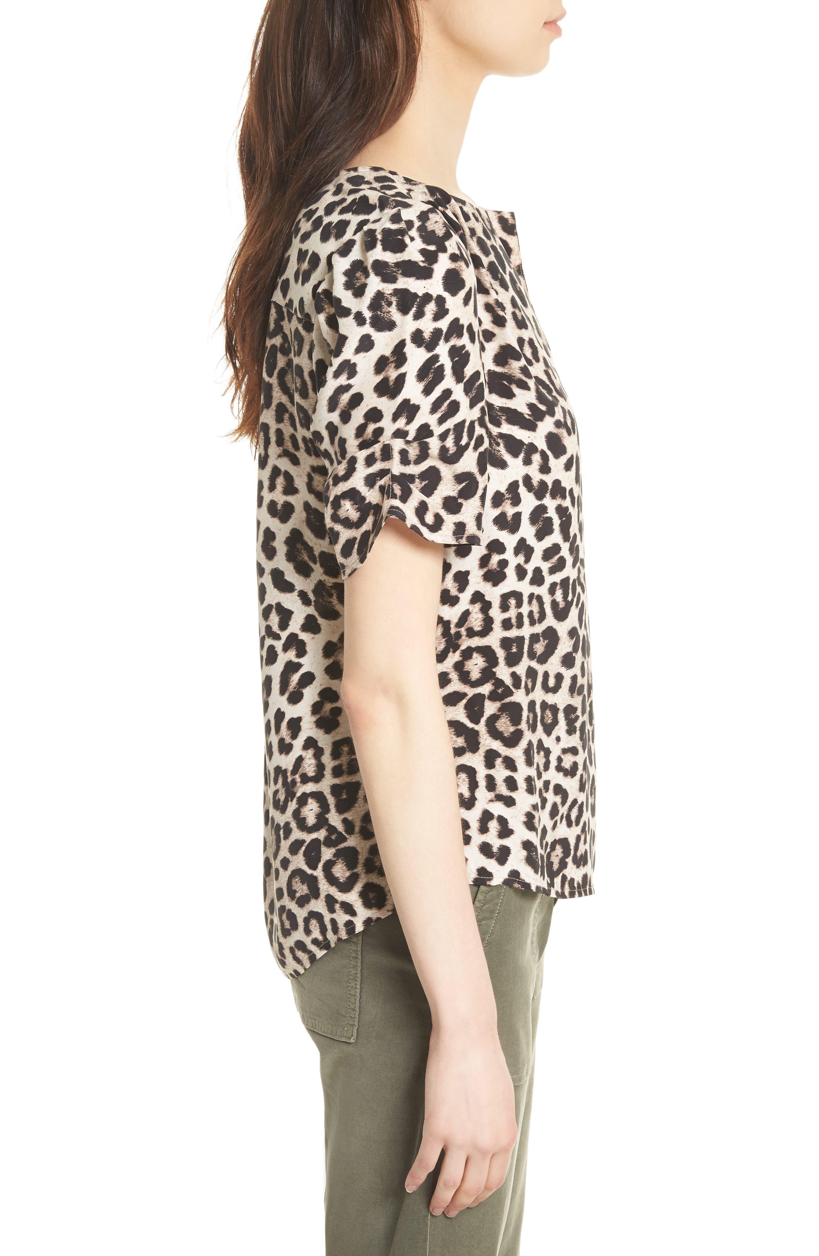 Amone Leopard Print Silk Top,                             Alternate thumbnail 3, color,